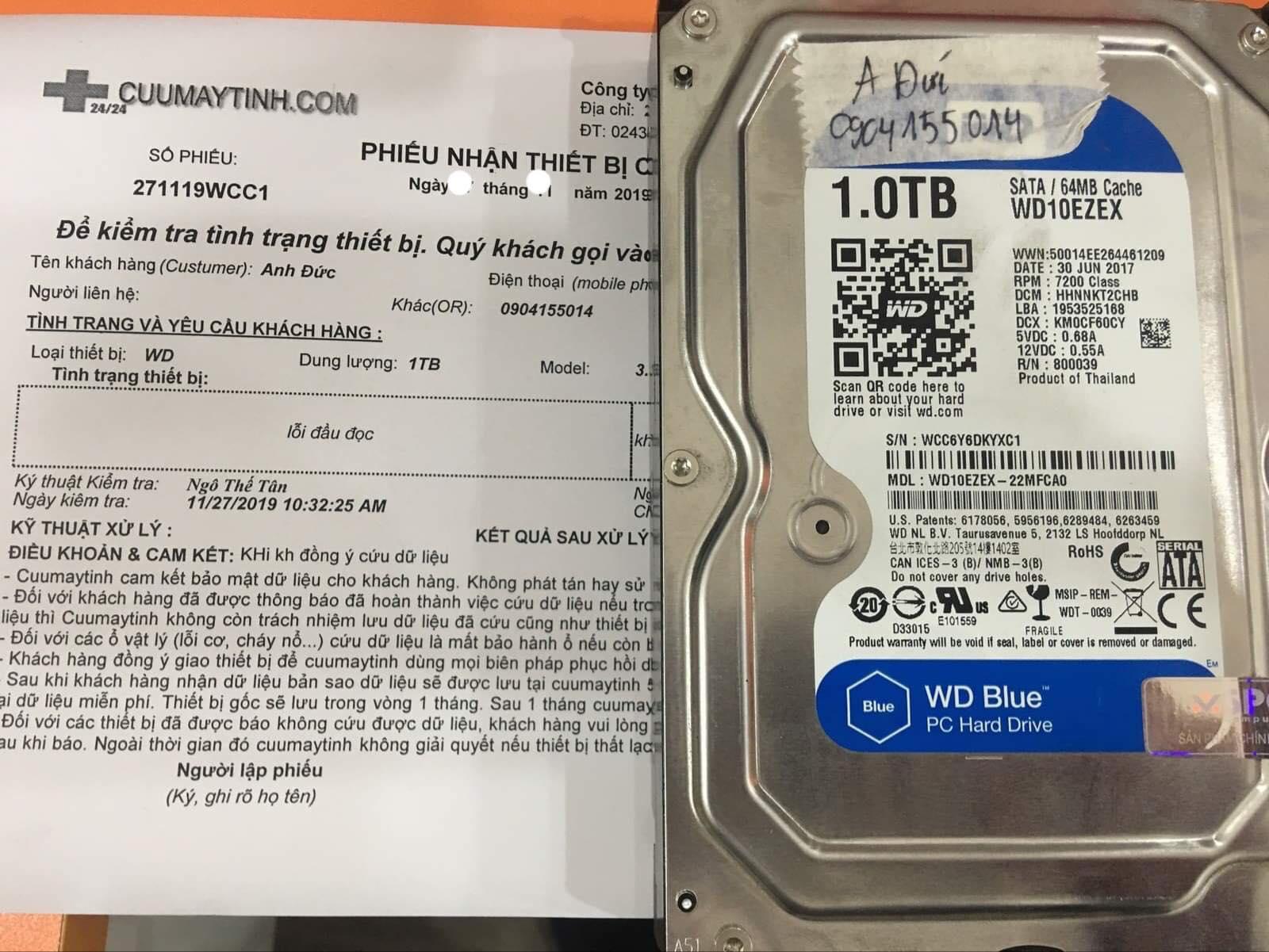Cứu dữ liệu ổ cứng Western 1TB lỗi đầu đọc 23/12/2019 - cuumaytinh