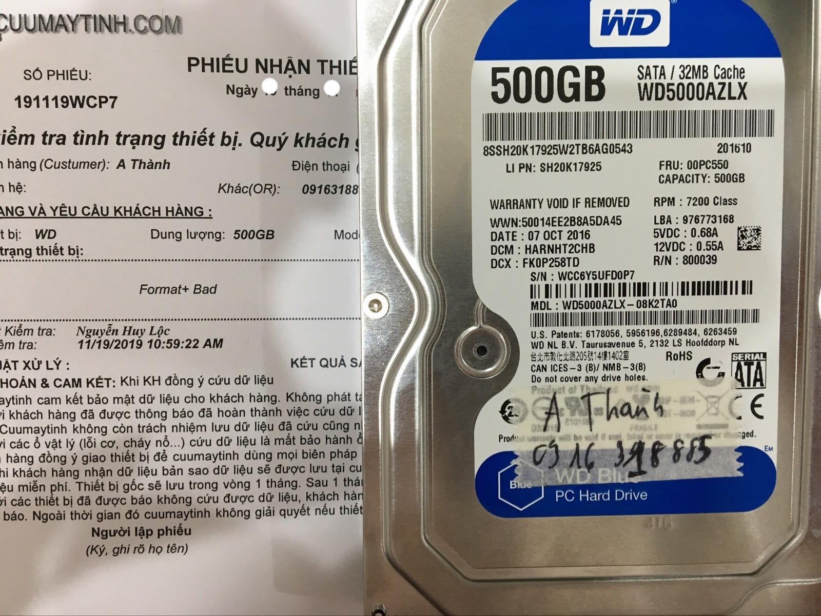 Cứu dữ liệu ổ cứng Western 500GB bad 02/12/2019 - cuumaytinh