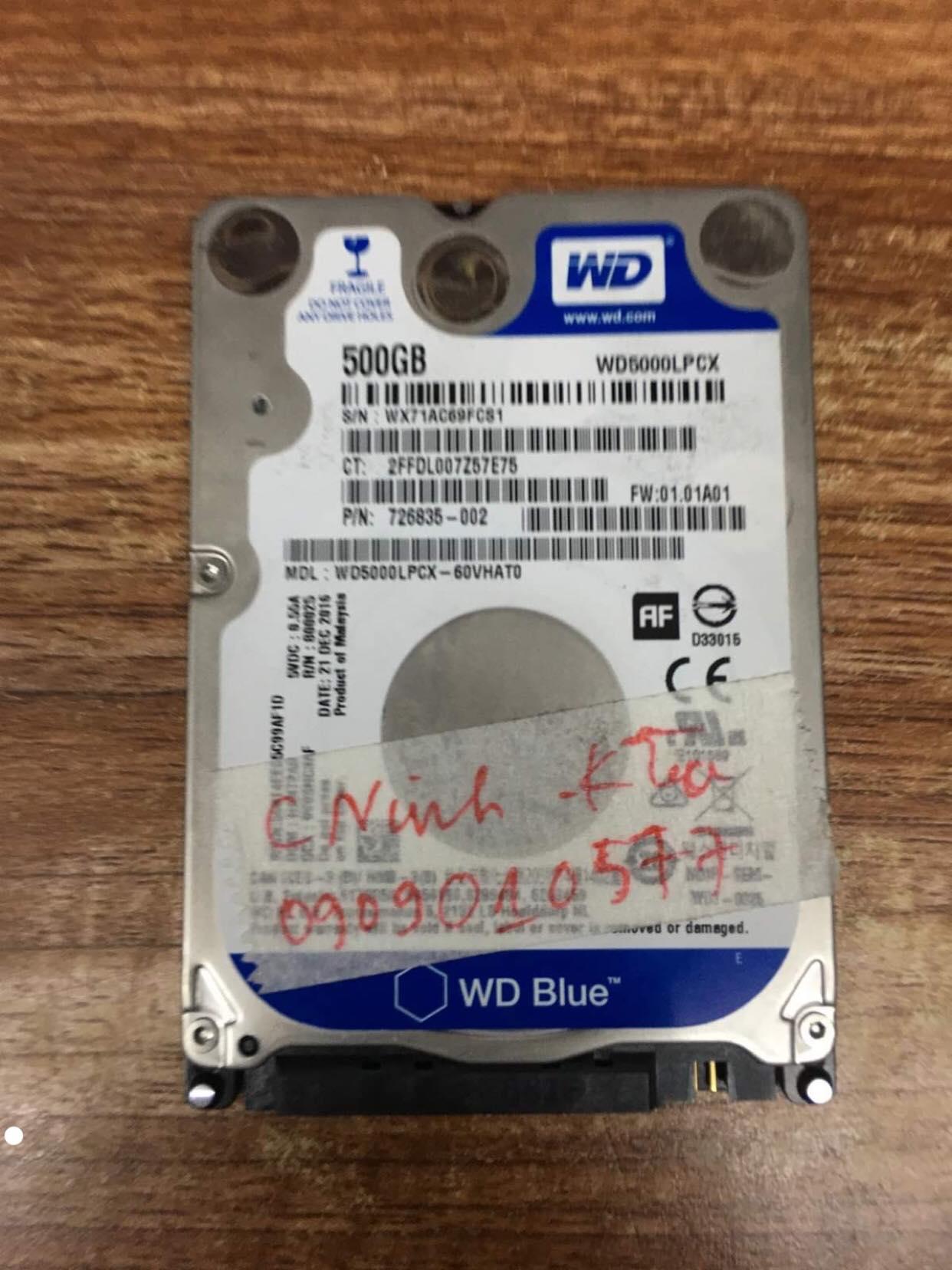 Cứu dữ liệu ổ cứng Western 500GB xóa nhầm 04/12/2019 - cuumaytinh