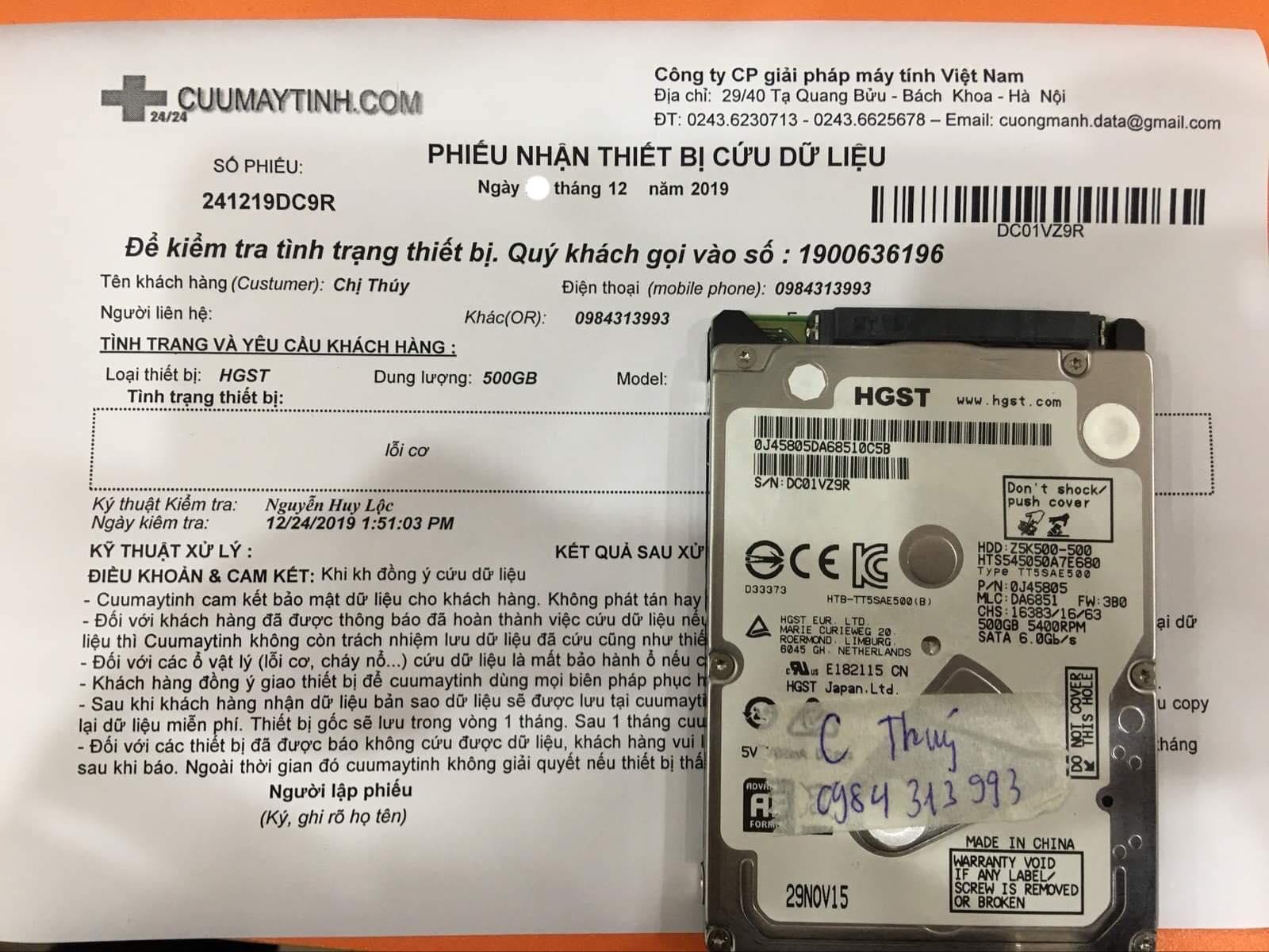 Khôi phục dữ liệu ổ cứng HGST 500GB lỗi cơ 27/12/2019 - cuumaytinh