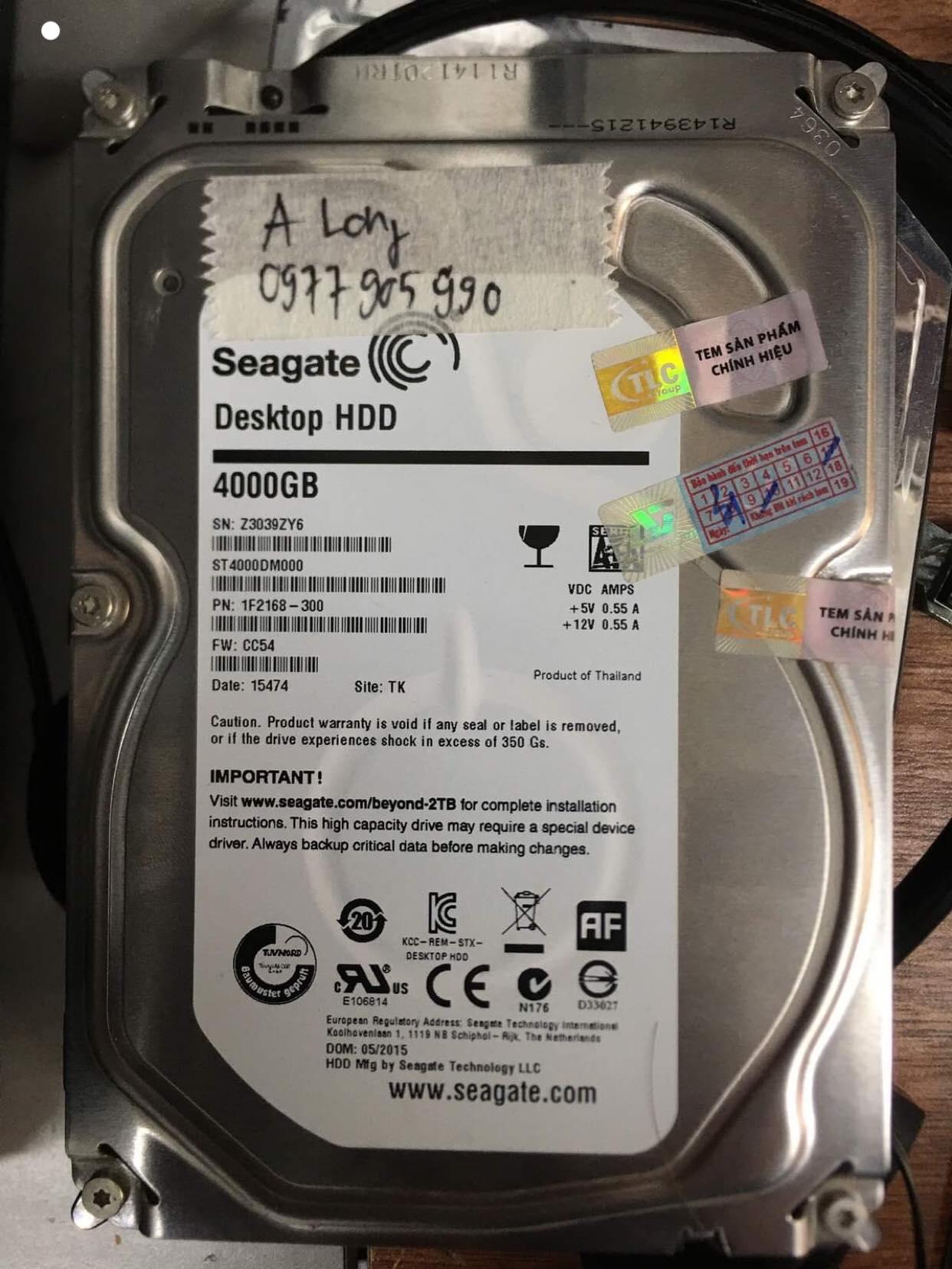 Khôi phục dữ liệu ổ cứng Seagate 4TB không nhận 18/12/2019 - cuumaytinh