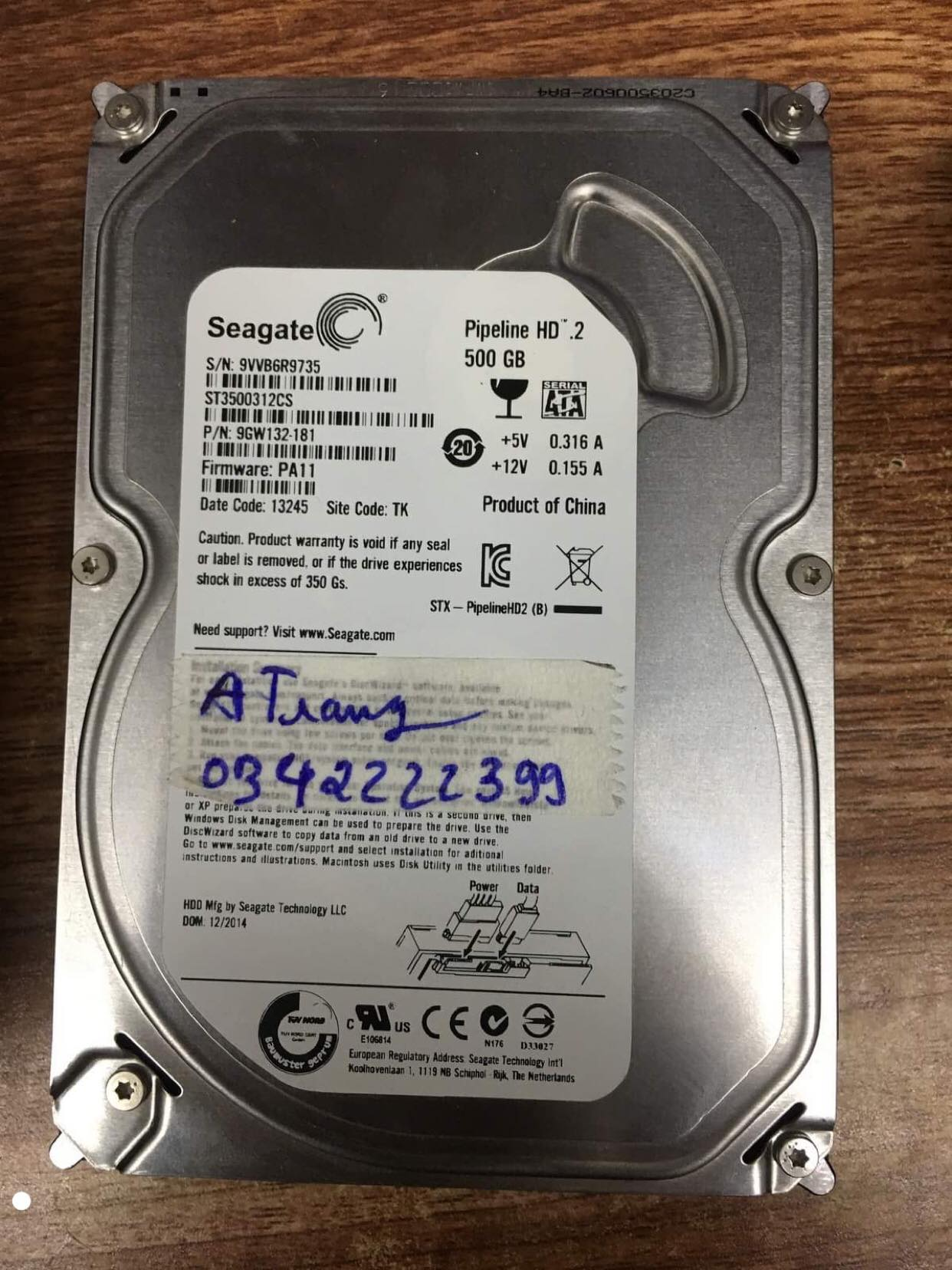 Khôi phục dữ liệu ổ cứng Seagate 500GB không nhận 09/12/2019 - cuumaytinh