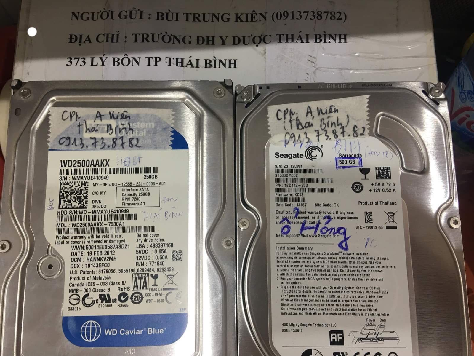 Khôi phục dữ liệu ổ cứng Seagate 500GB lỗi đầu đọc tại Thái Bình 07/12/2019 - cuumaytinh
