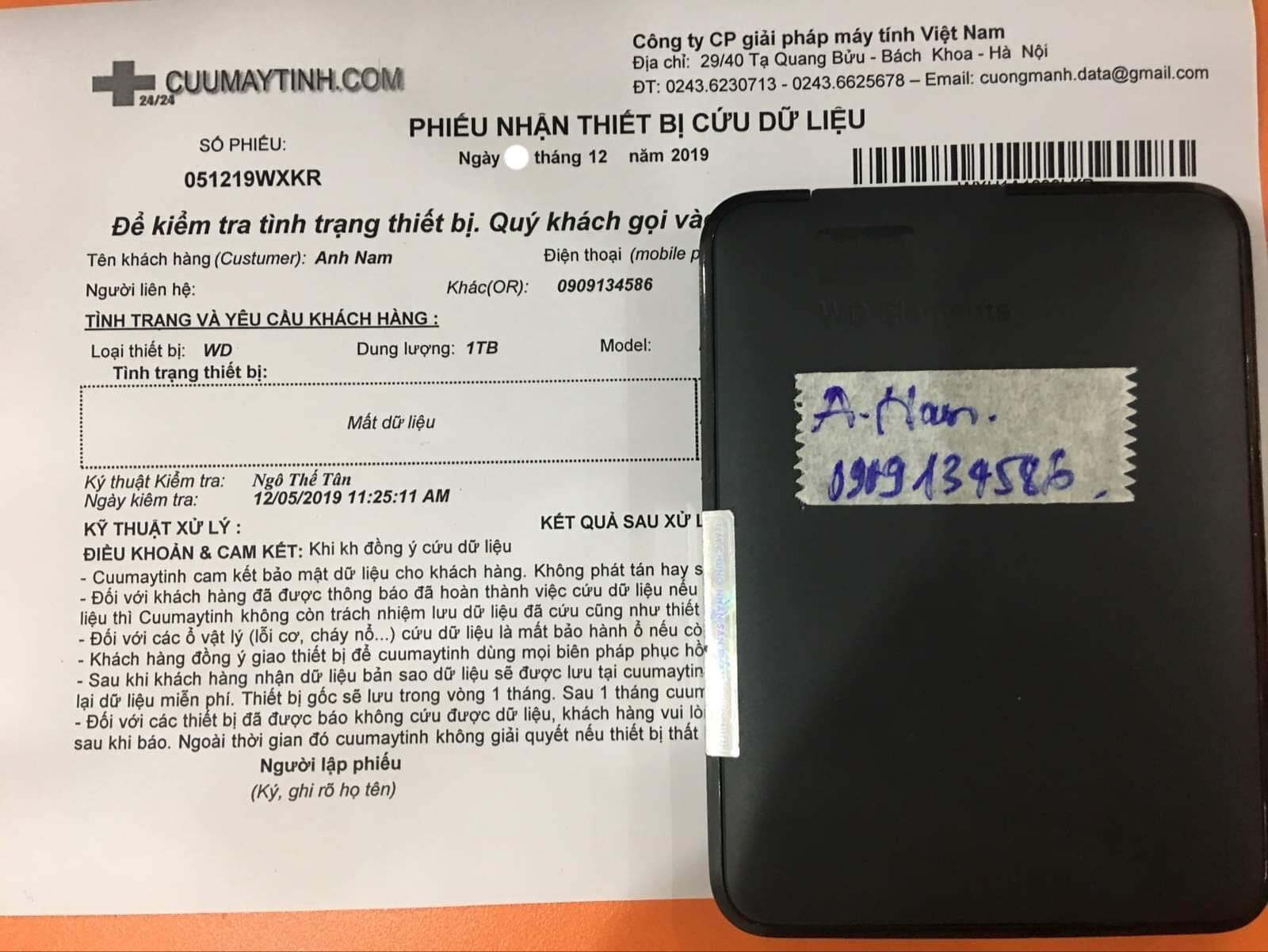 Khôi phục dữ liệu ổ cứng Western 1TB mất dữ liệu 17/12/2019 - cuumaytinh