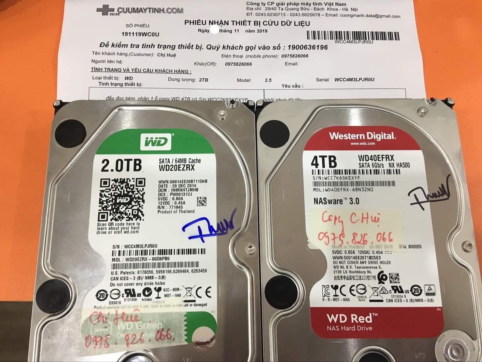 Khôi phục dữ liệu ổ cứng Western 2TB đầu đọc kém 29/11/2019 - cuumaytinh