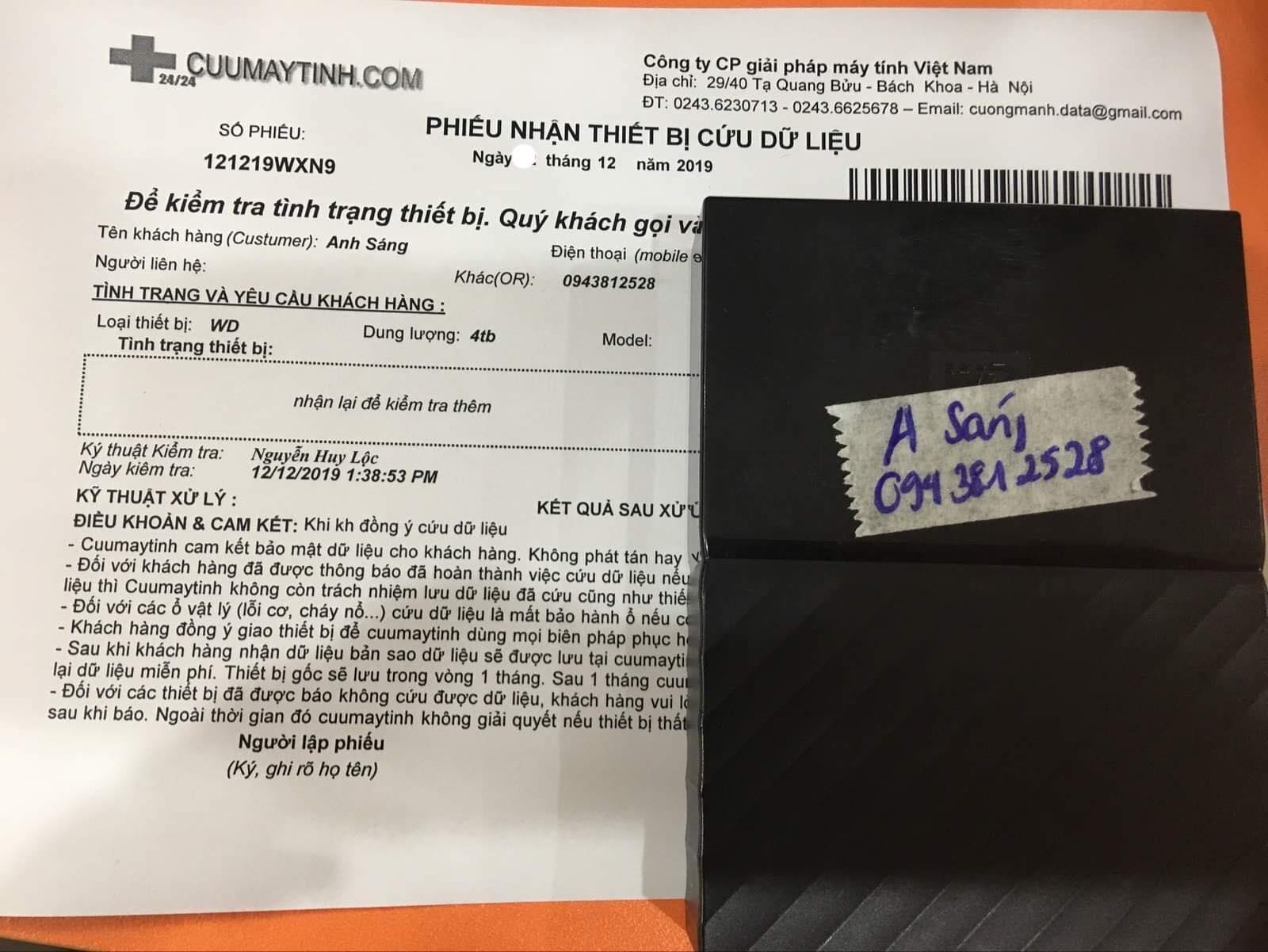 Khôi phục dữ liệu ổ cứng Western 4TB không nhận 14/12/2019 - cuumaytinh