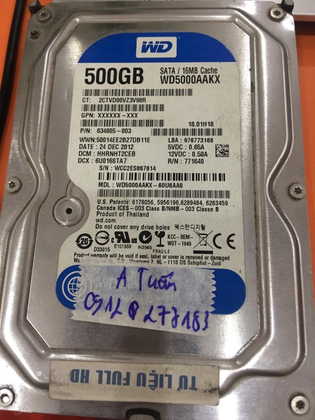 Khôi phục dữ liệu ổ cứng Western 500GB không nhận 10/12/2019 - cuumaytinh