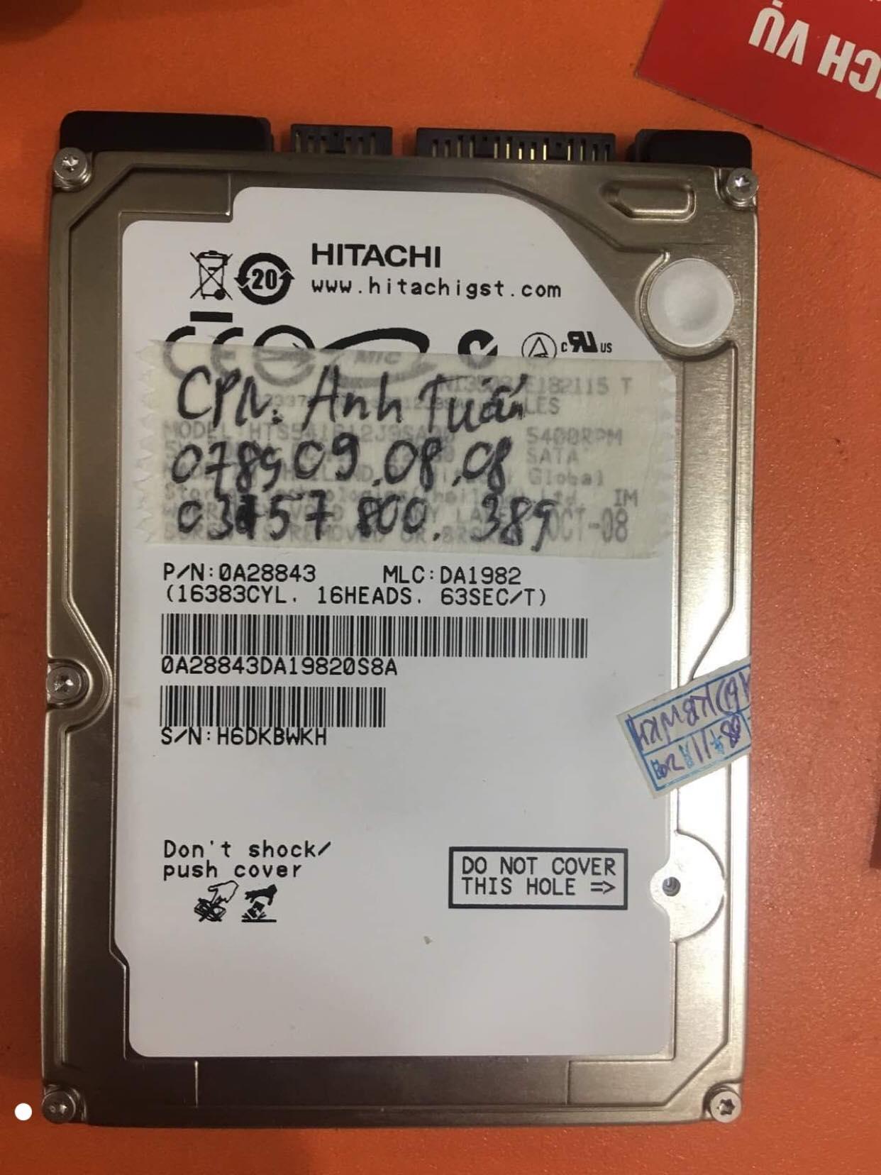 Lấy dữ liệu ổ cứng Hitachi 160GB lỗi cơ 06/12/2019 - cuumaytinh