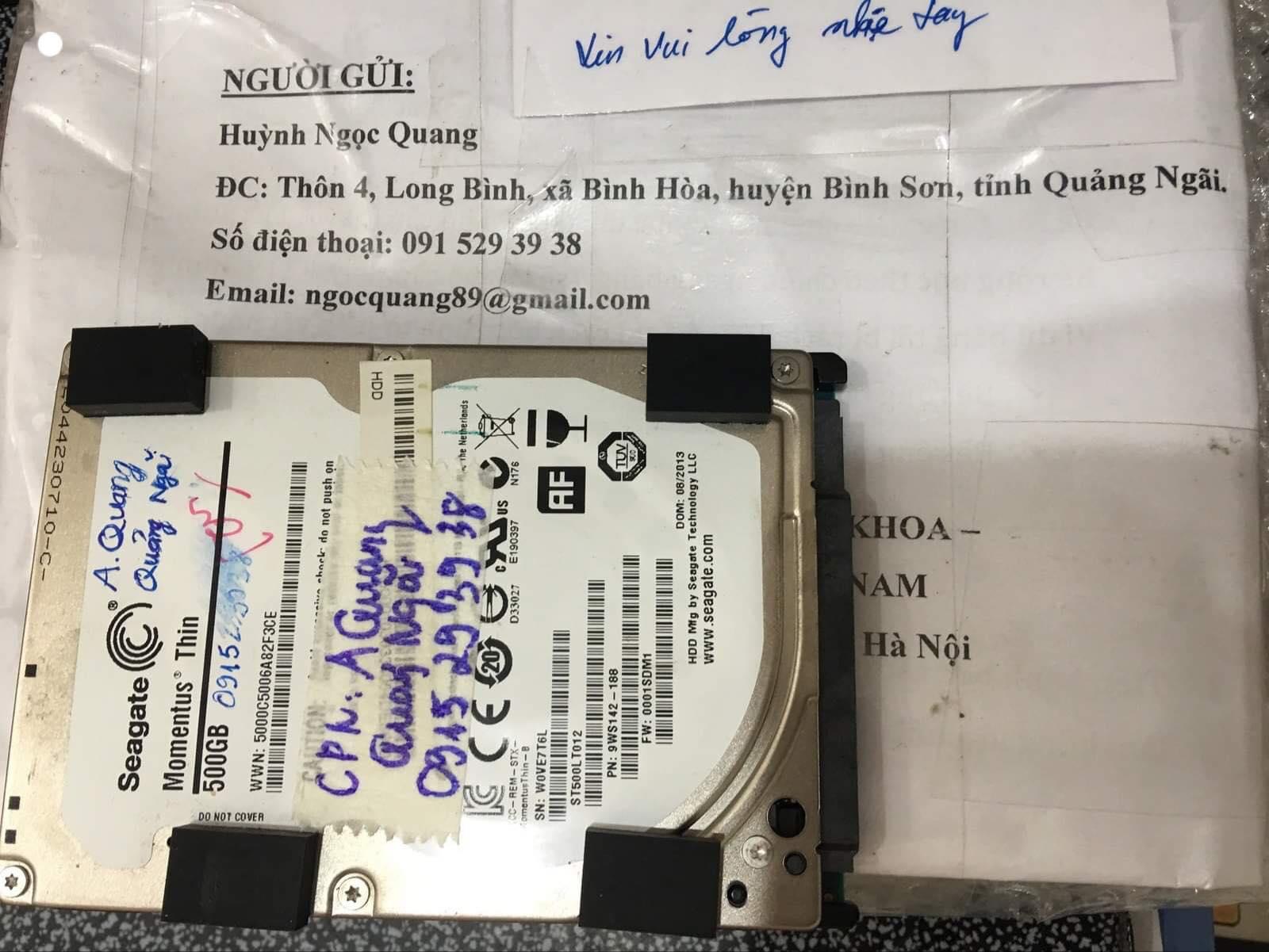 Lấy dữ liệu ổ cứng Seagate 500GB lỗi đầu đọc tại Quảng Ngãi 17/12/2019 - cuumaytinh