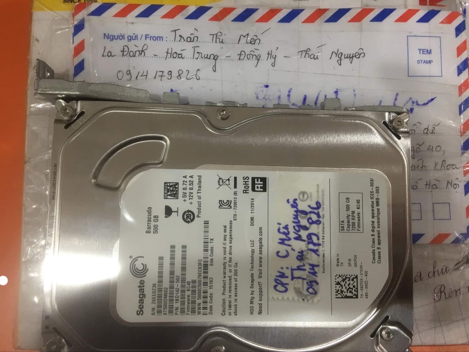 Lấy dữ liệu ổ cứng Seagate 500GB lỗi đầu đọc tại Thái Nguyên 10/12/2019 - cuumaytinh