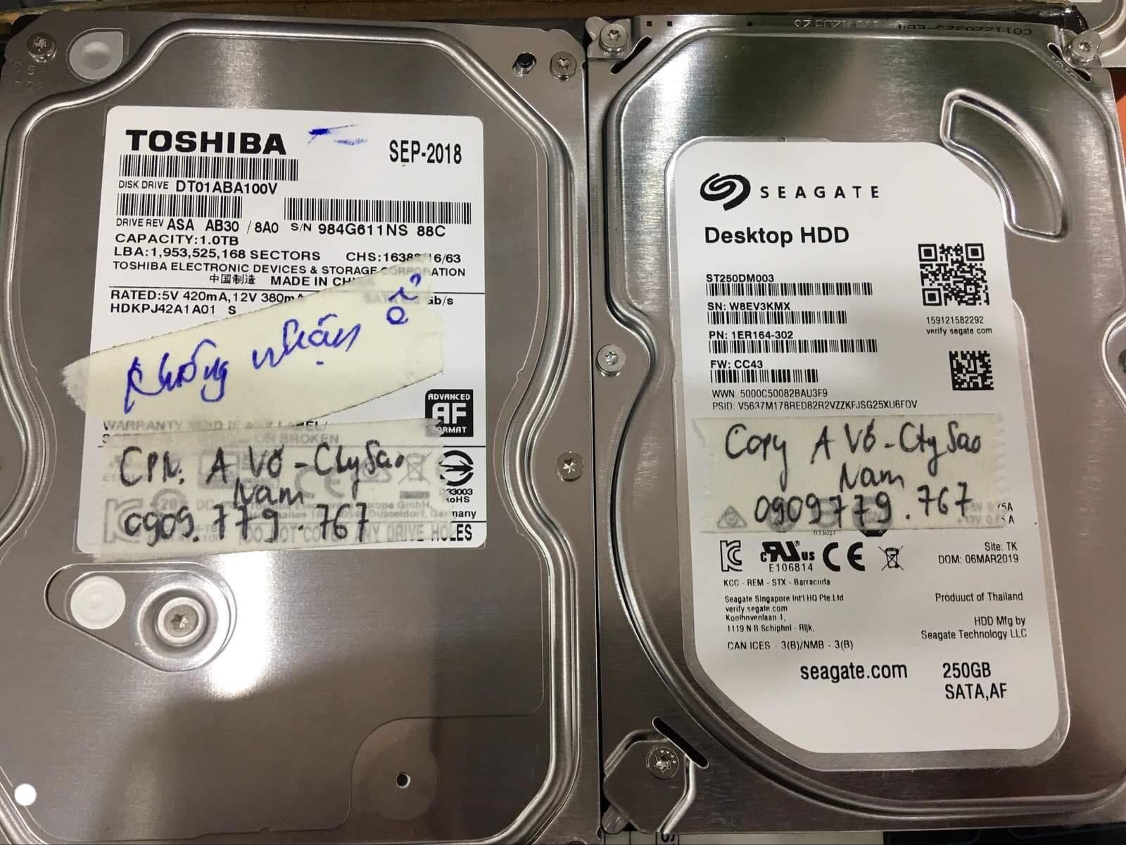Lấy dữ liệu ổ cứng Toshiba 1TB không nhận tại Thái Bình 30/11/2019 - cuumaytinh