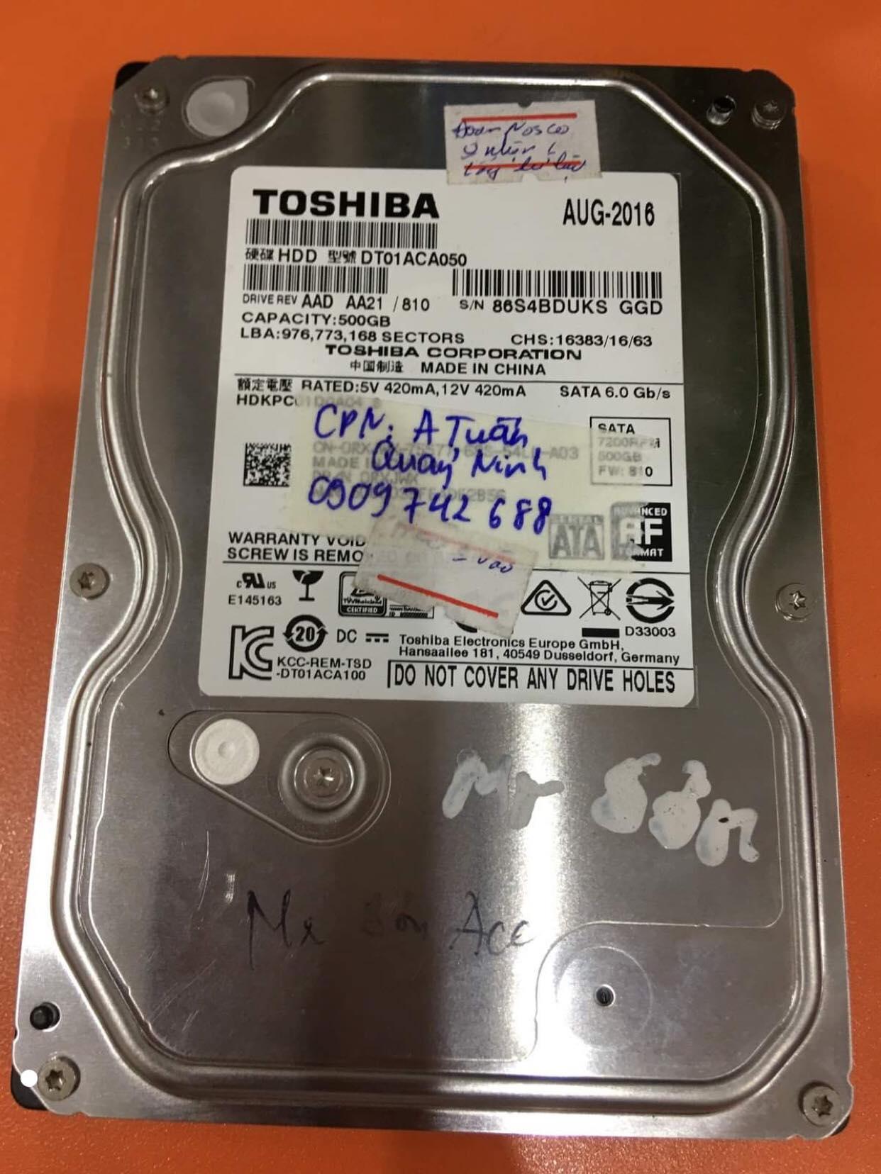 Lấy dữ liệu ổ cứng Toshiba 500GB lỗi đầu đọc tại Quảng Ninh 12/12/2019 - cuumaytinh