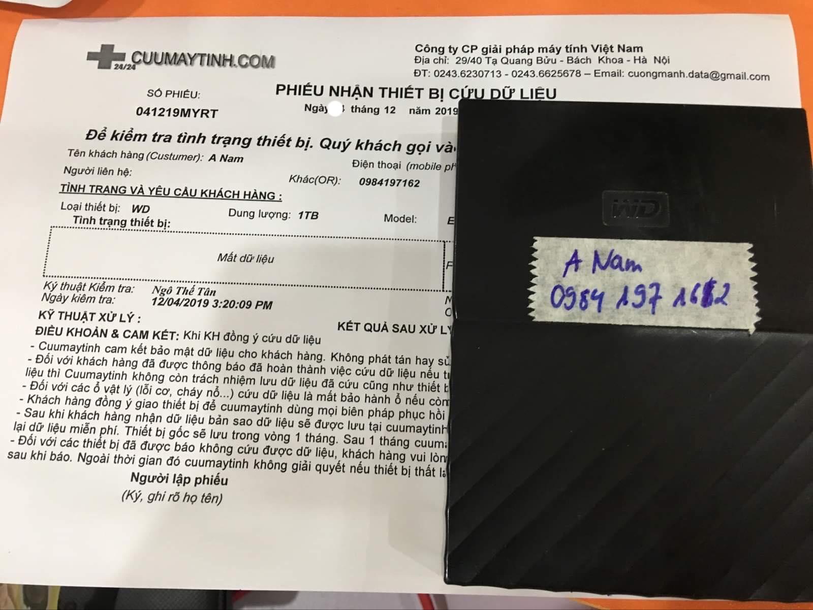 Lấy dữ liệu ổ cứng Western 1TB mất dữ liệu19/12/2019- cuumaytinh
