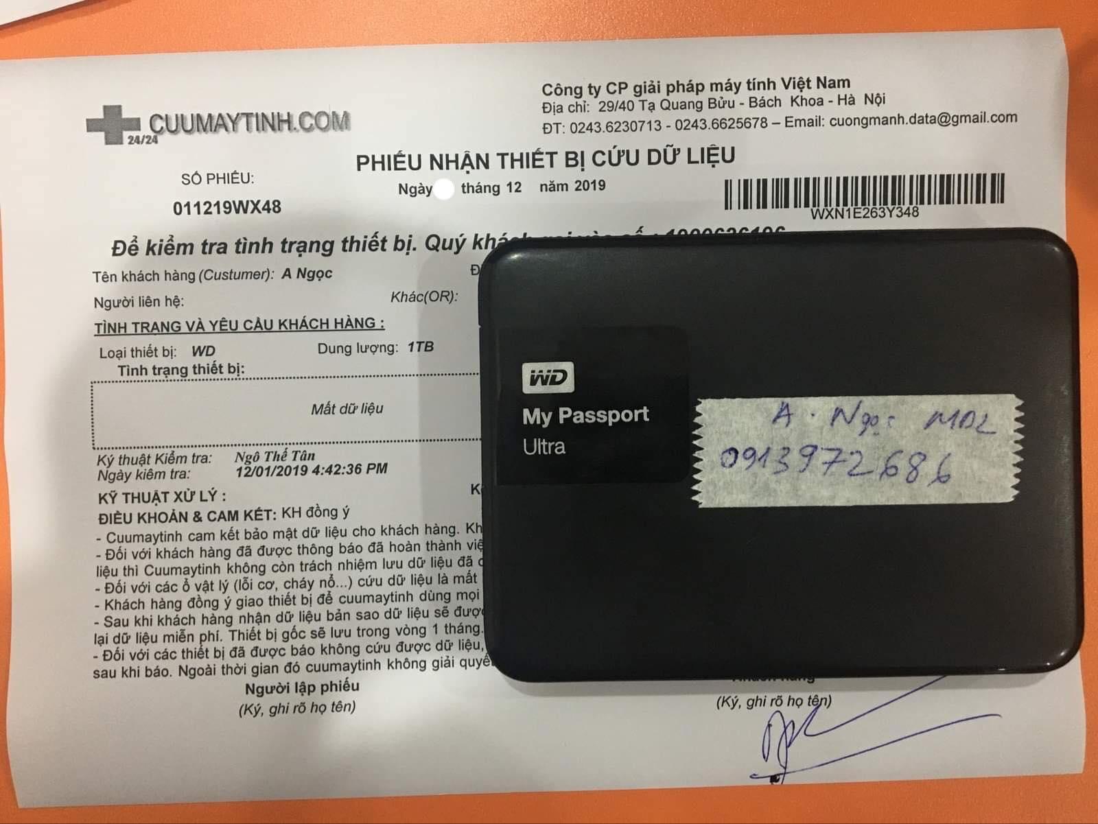 Lấy dữ liệu ổ cứng Western 1TB xóa nhầm 07/12/2019 - cuumaytinh