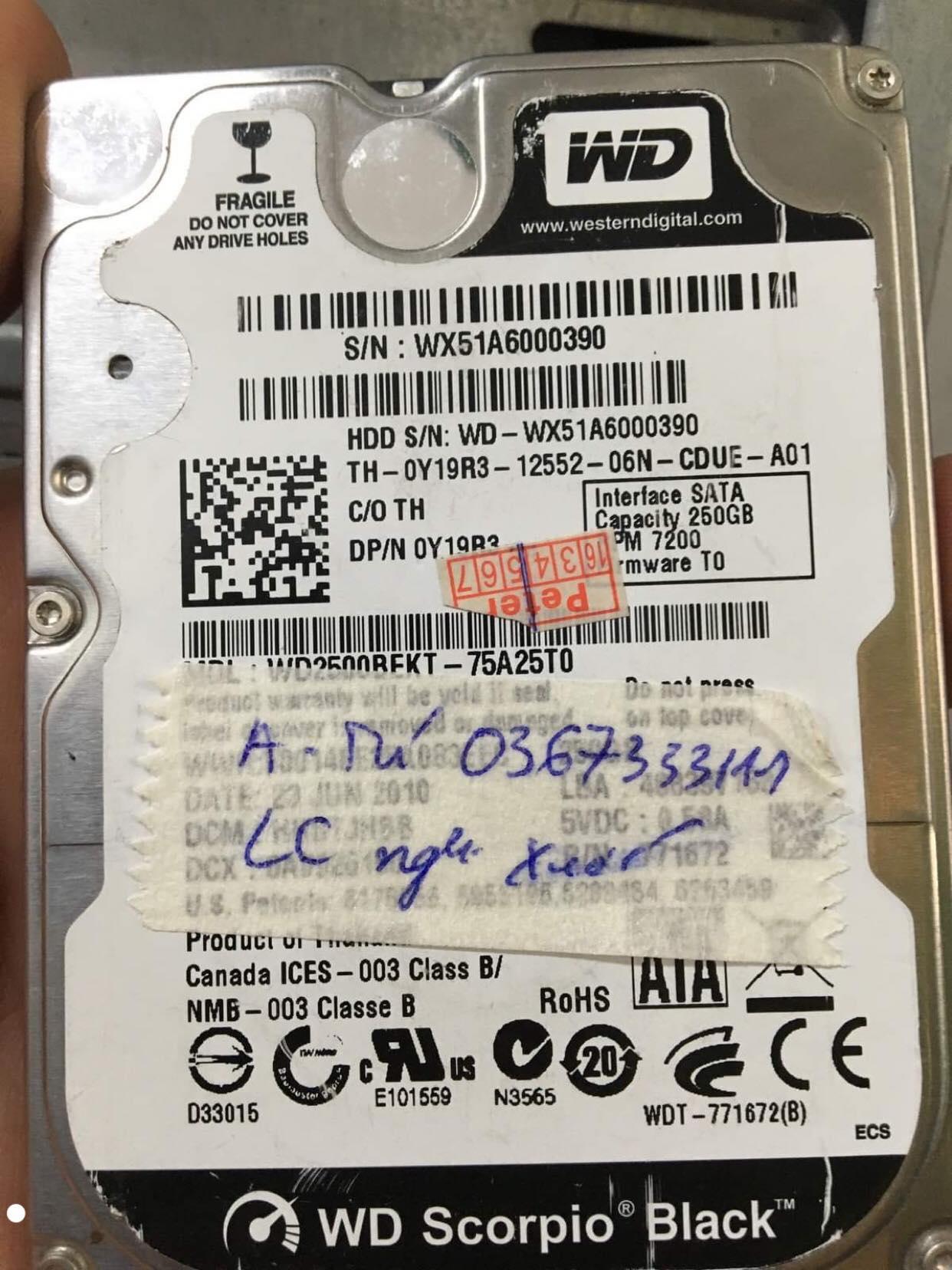 Lấy dữ liệu ổ cứng Western 500GB lỗi cơ 21/12/2019 - cuumaytinh