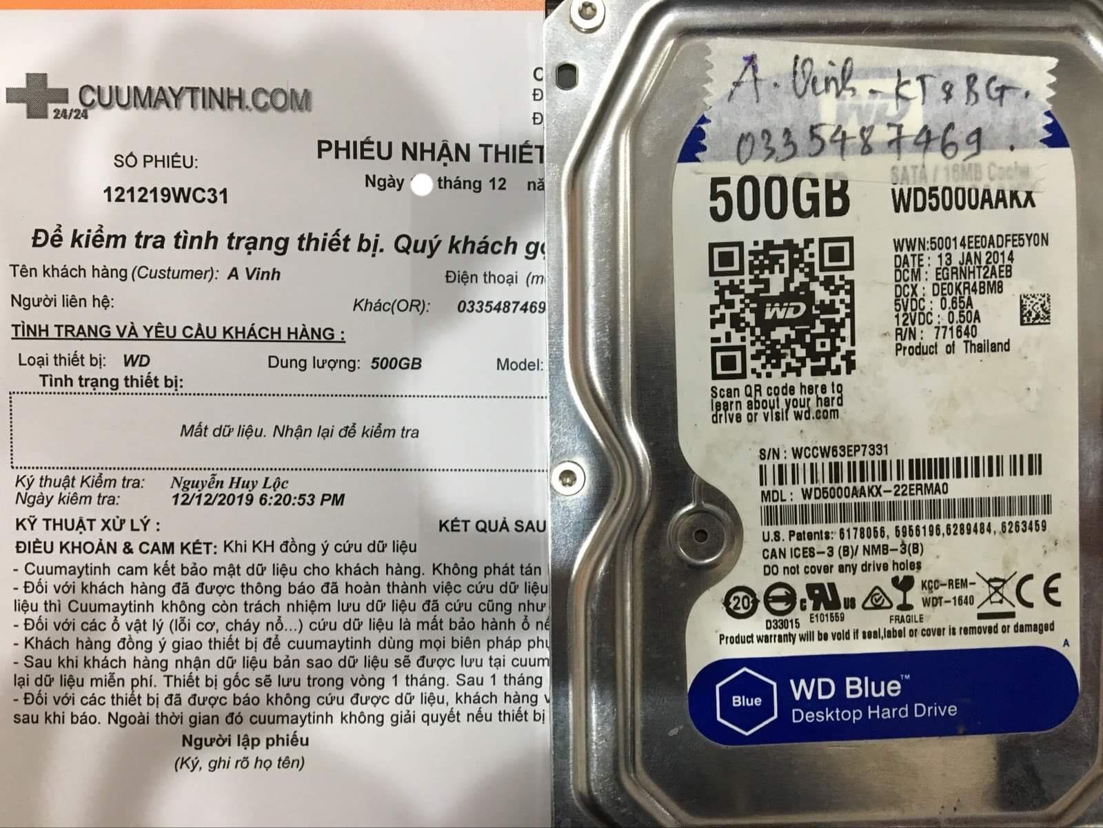 Lấy dữ liệu ổ cứng Western 500GB mất dữ liệu 14/12/2019 - cuumaytinh