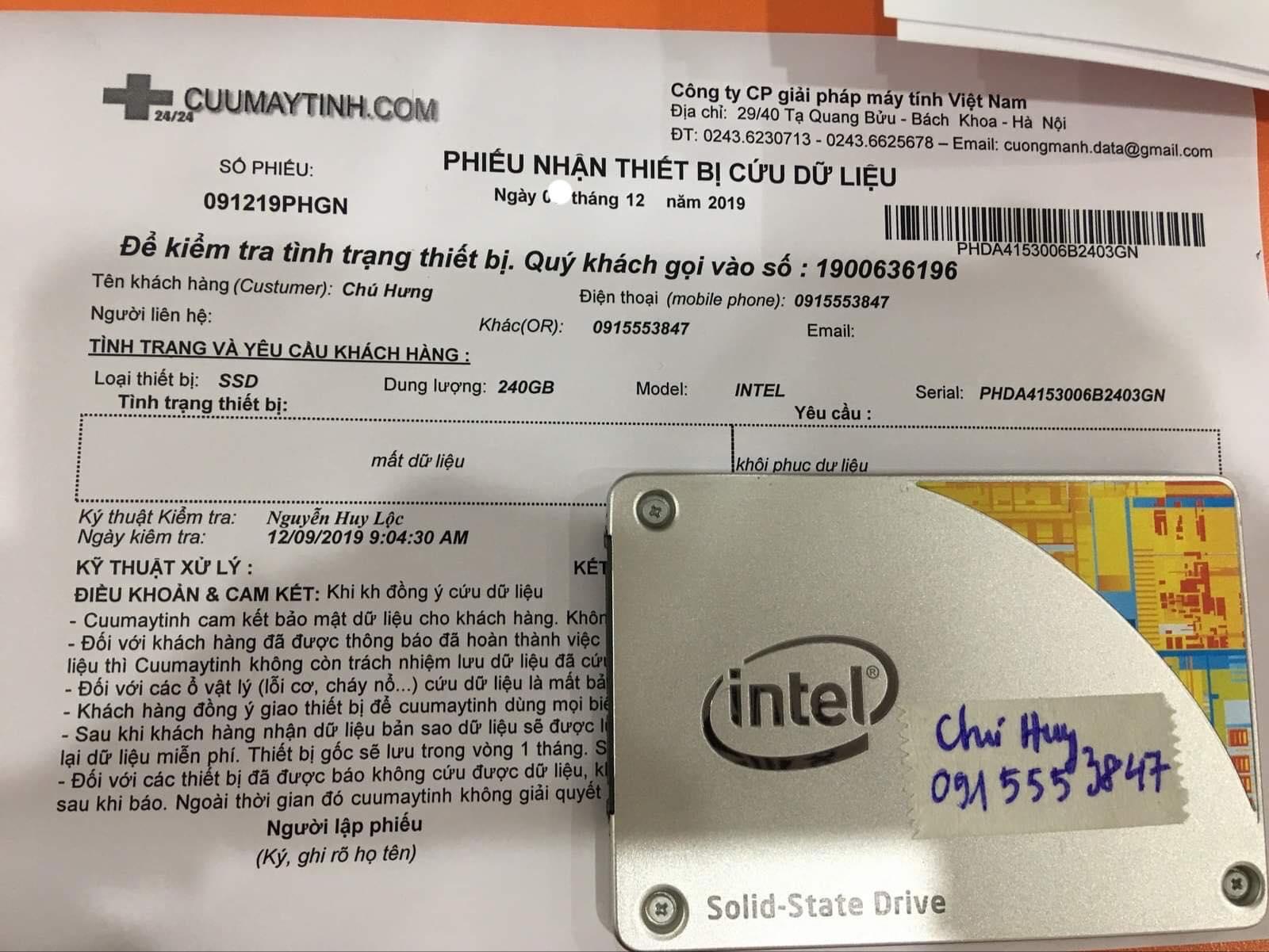 Phục hồi dữ liệu ổ cứng SSD Intel 240GB mất dữ liệu 16/12/2019 - cuumaytinh