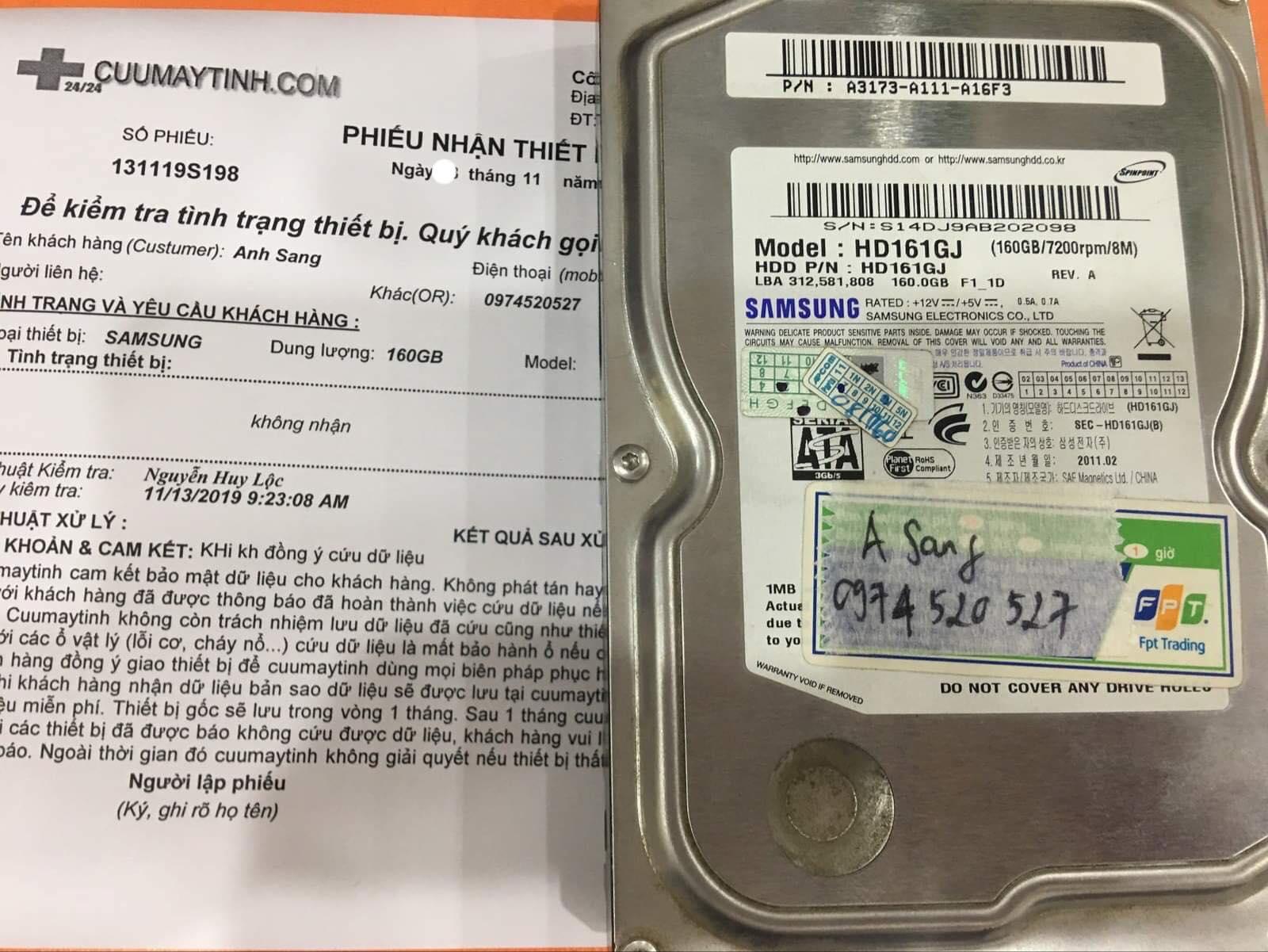 Phục hồi dữ liệu ổ cứng Samsung 160GB không nhận 29/11/2019 - cuumaytinh