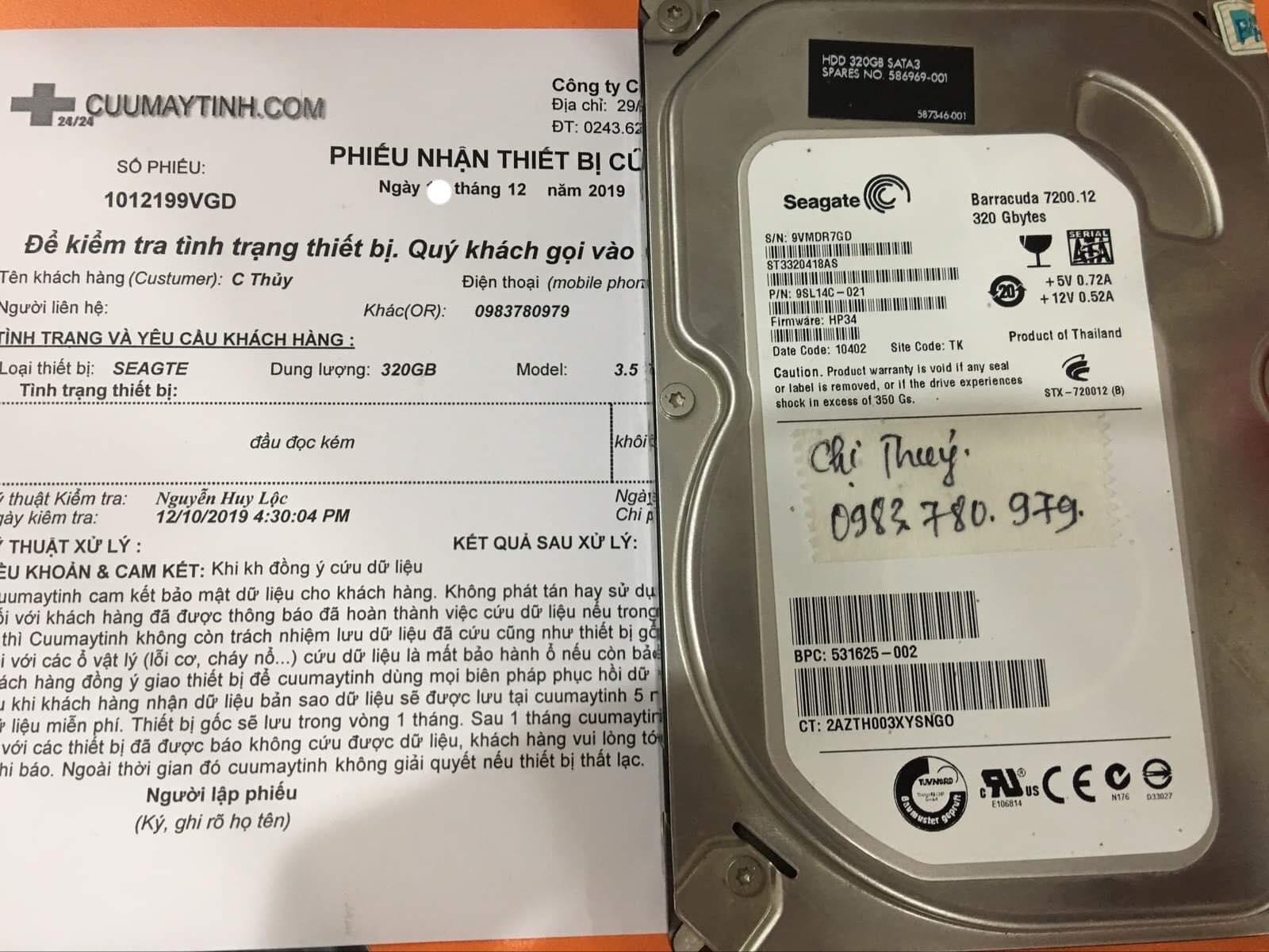 Phục hồi dữ liệu ổ cứng Seagate 320GB đầu đọc kém 13/12/2019 - cuumaytinh