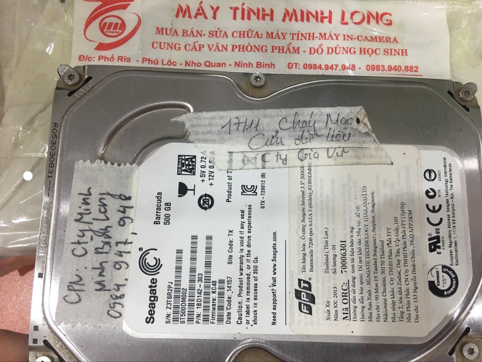 Phục hồi dữ liệu ổ cứng Seagate 500GB đầu đọc kém tại Ninh Bình 02/12/2019 - cuumaytinh