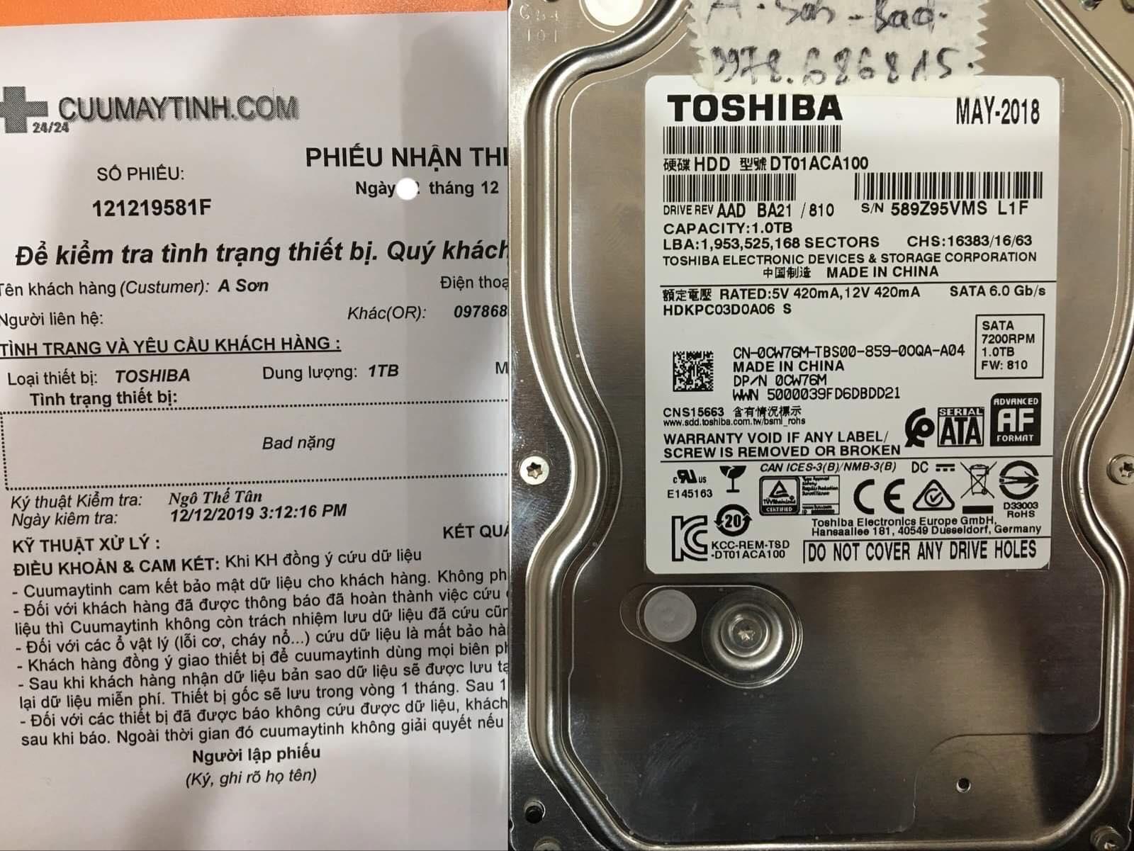 Phục hồi dữ liệu ổ cứng Toshiba 1TB bad nặng 14/12/2019 - cuumaytinh