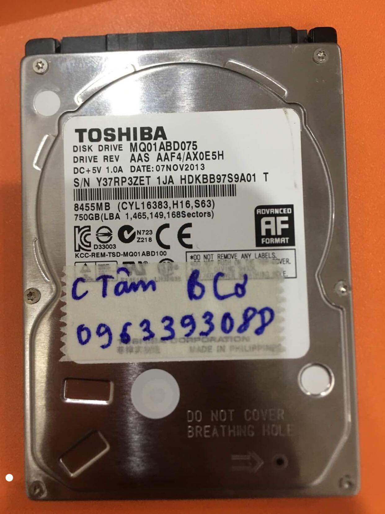 Phục hồi dữ liệu ổ cứng Toshiba 750GB lỗi cơ 10/12/2019 - cuumaytinh