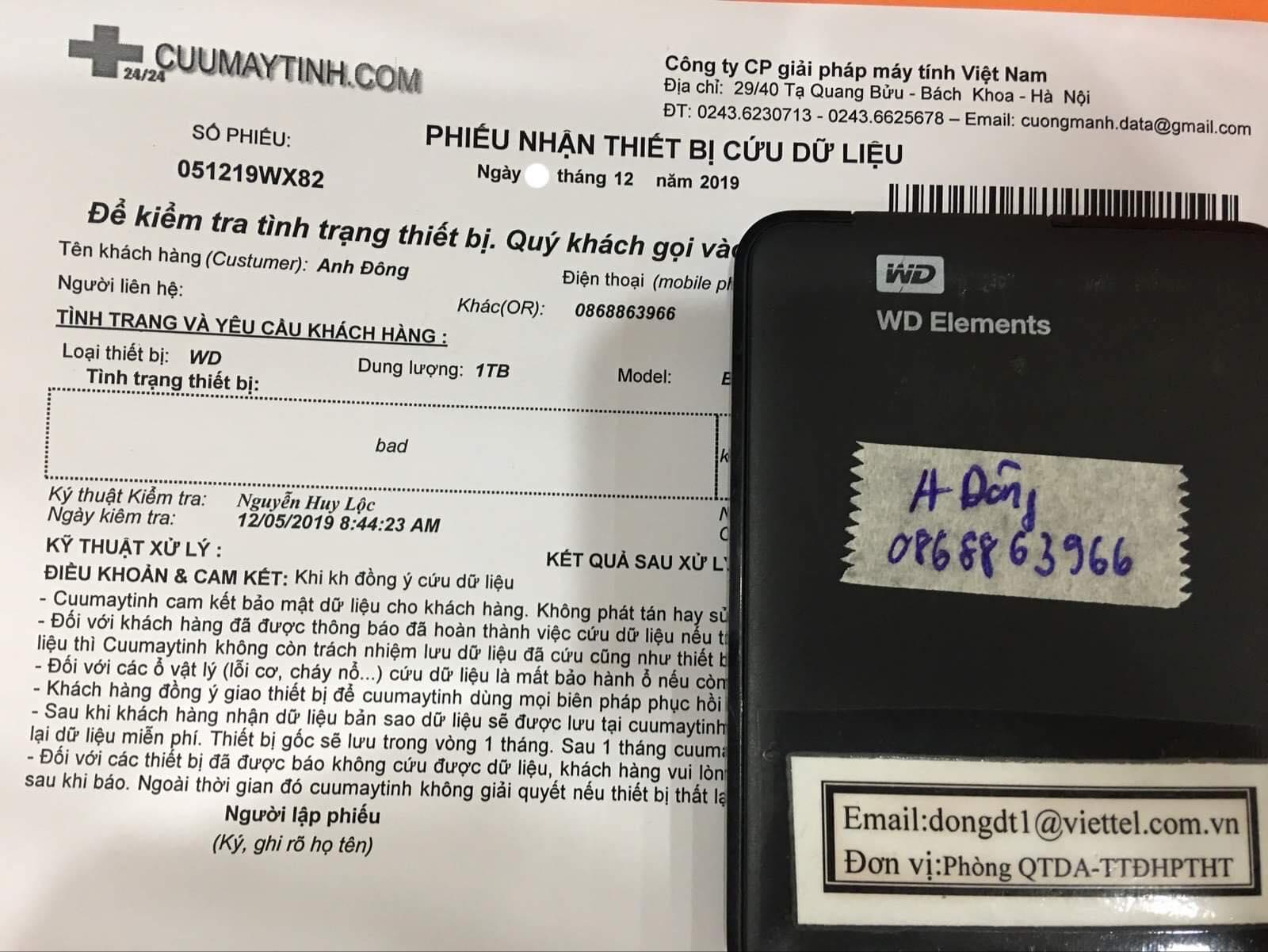 Phục hồi dữ liệu ổ cứng Western 1TB bad 09/12/2019 - cuumaytinh