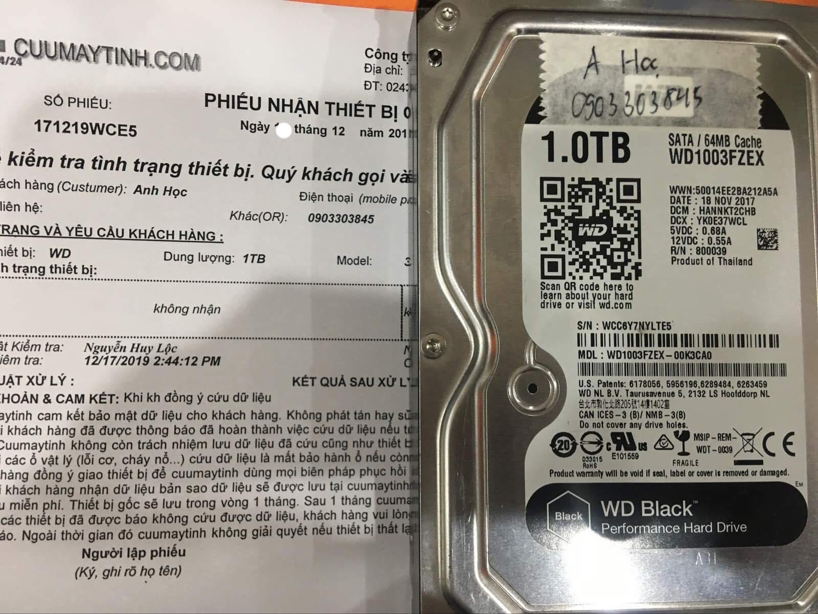 Phục hồi dữ liệu ổ cứng Western 1TB không nhận 19/12/2019 - cuumaytinh
