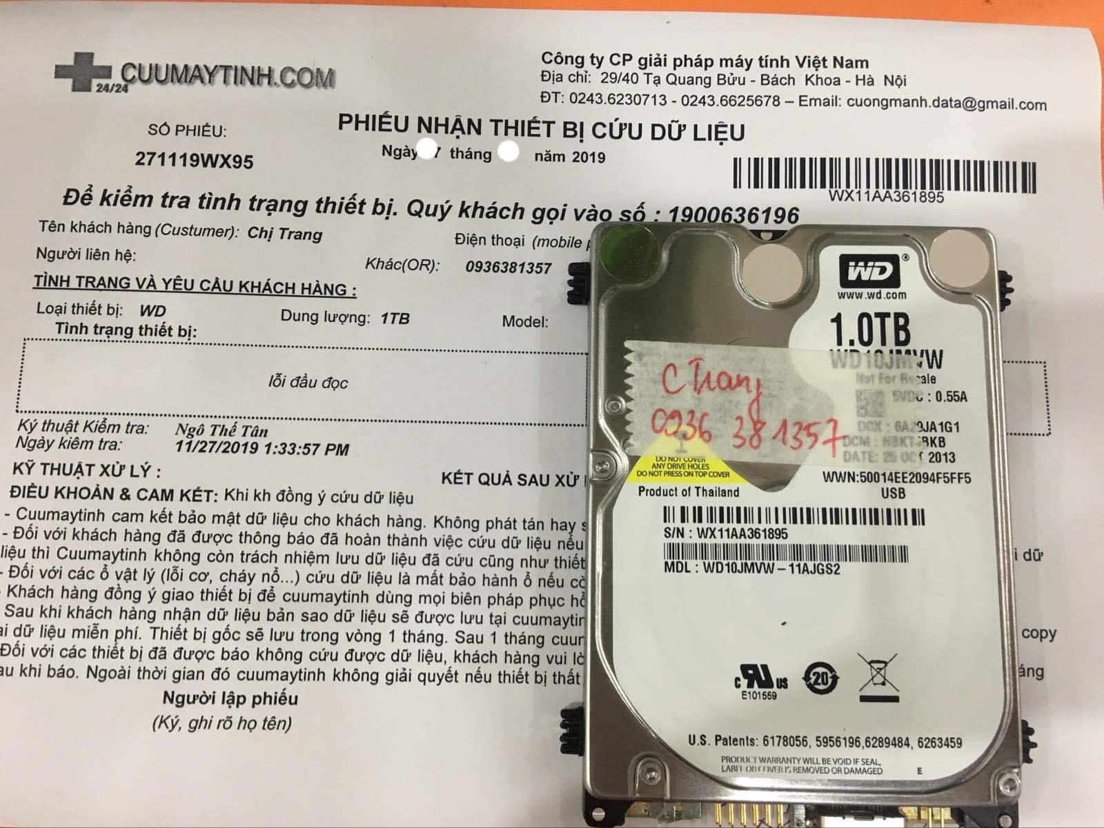 Phục hồi dữ liệu ổ cứng Western 1TB lỗi đầu đọc 05/12/2019 - cuumaytinh