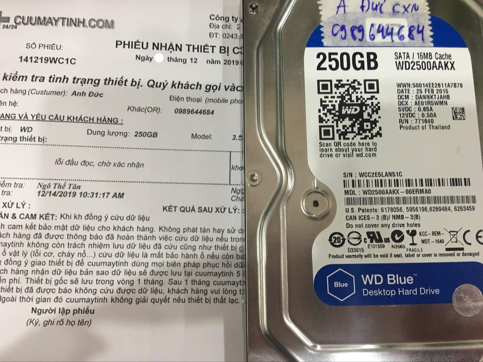 Phục hồi dữ liệu ổ cứng Western 250GB lỗi đầu đọc 27/12/2019 - cuumaytinh