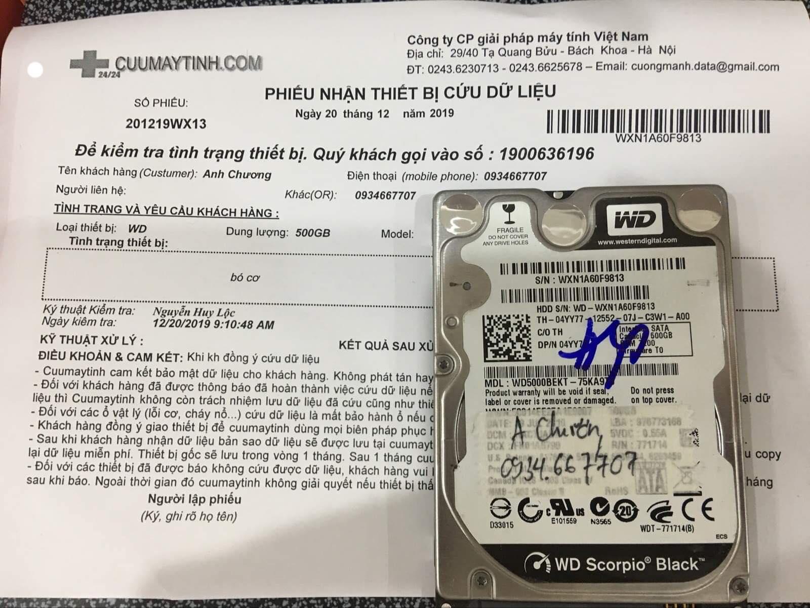 Phục hồi dữ liệu ổ cứng Western 500GB bó cơ 20/12/2019 -cuumaytinh