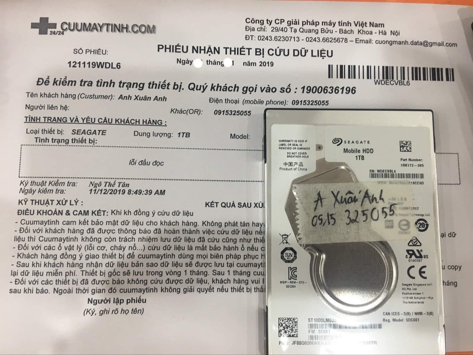 Cứu dữ liệu ổ cứng Seagate 1TB lỗi đầu đọc 13/12/2019 - cuumaytinh