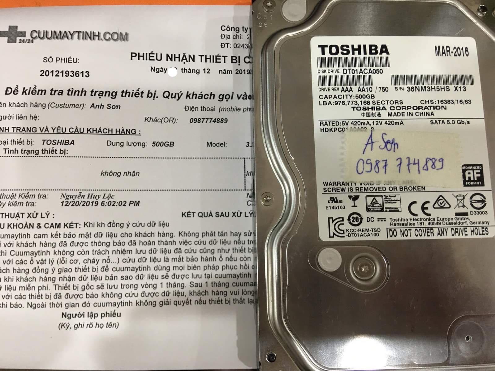 Cứu dữ liệu ổ cứng Toshiba 500GB không nhận 27/12/2019 - cuumaytinh
