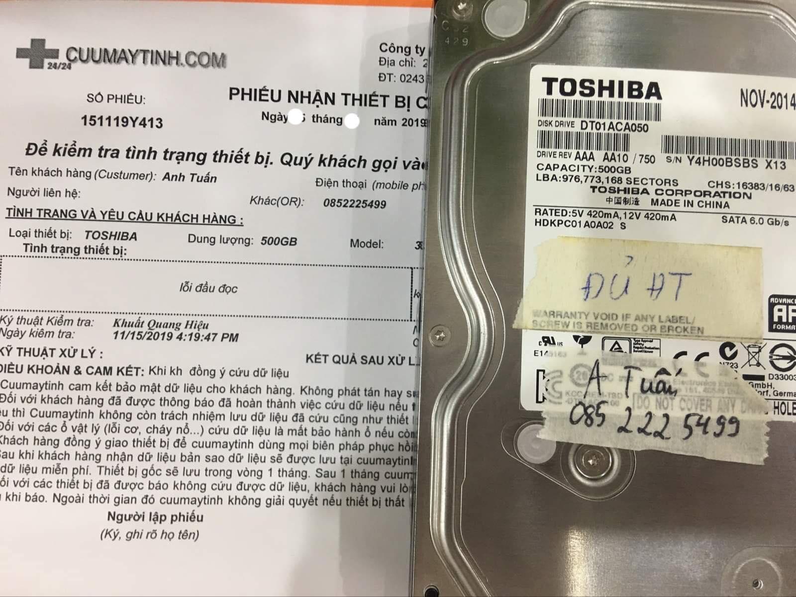 Cứu dữ liệu ổ cứng Toshiba 500GB lỗi đầu đọc 11/12/2019 - cuumaytinh