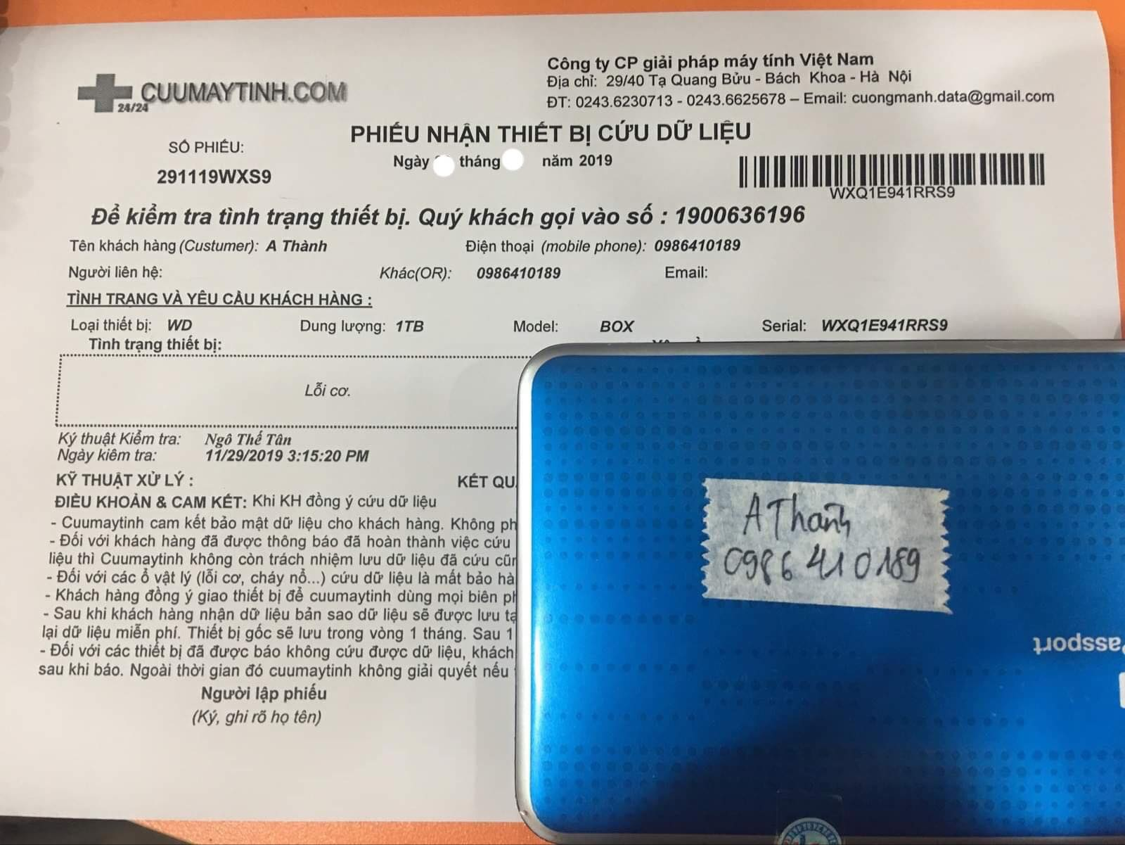 Cứu dữ liệu ổ cứng Western 1TB lỗi cơ 12/12/2019 - cuumaytinh
