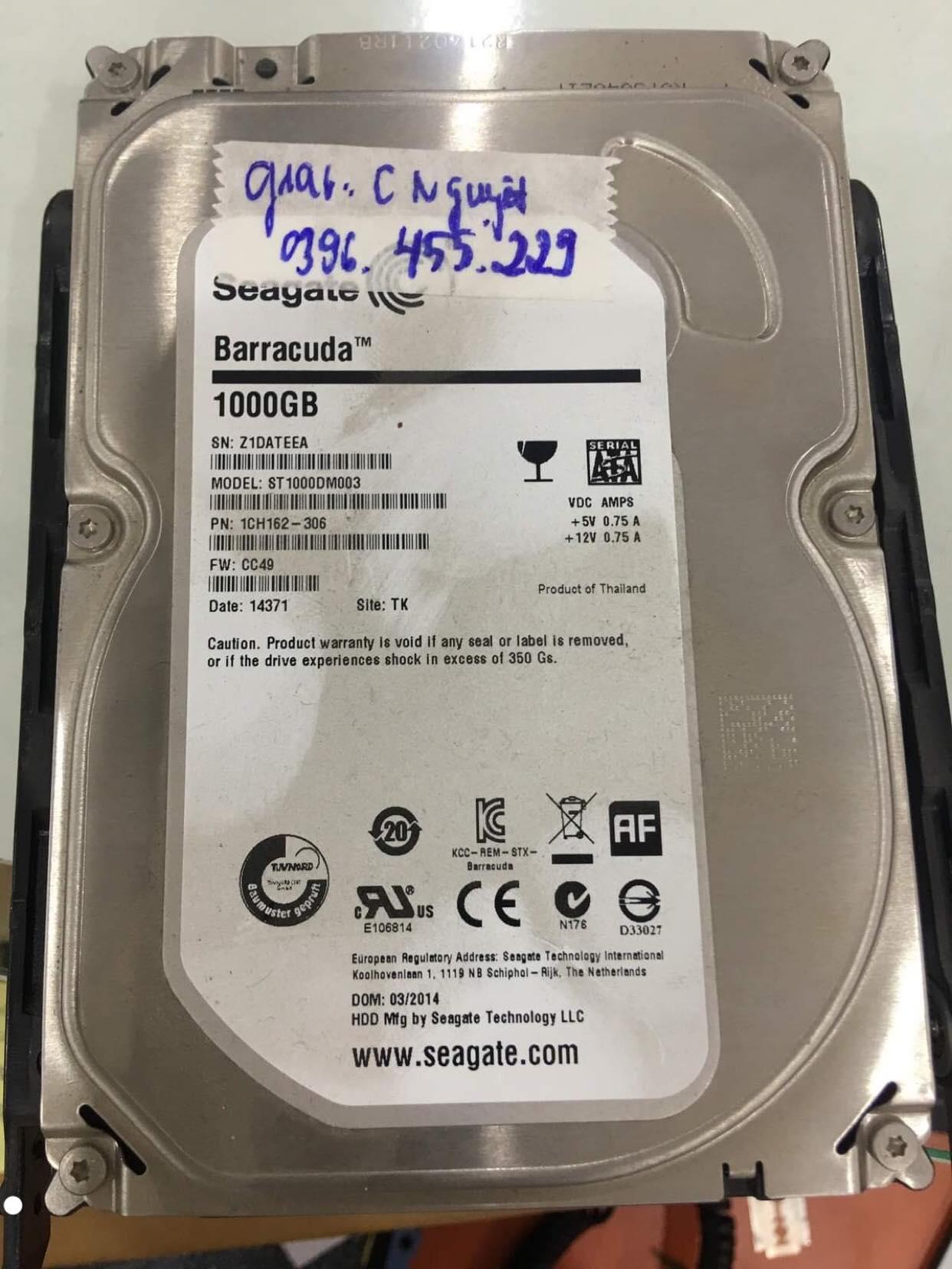 Khôi phục dữ liệu ổ cứng Seagate 1TB đầu đọc kém 13/12/2019 - cuumaytinh