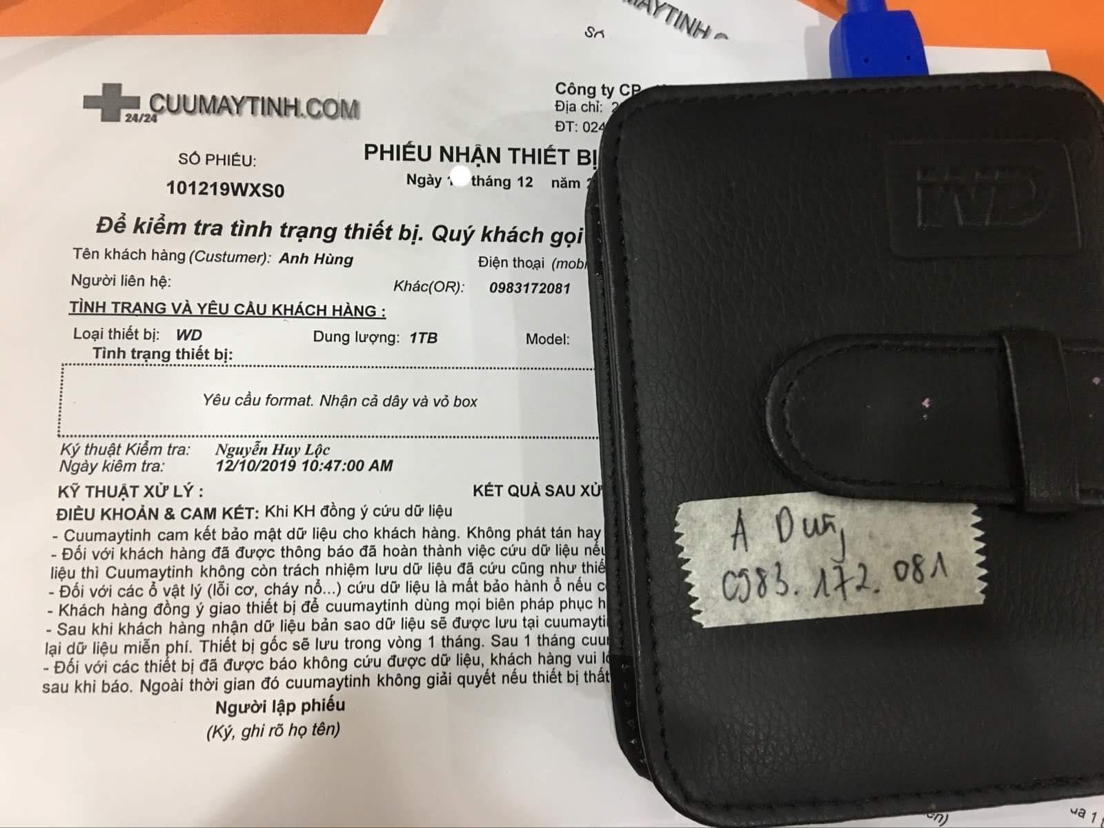 Lấy dữ liệu ổ cứng Western 1TB yêu cầu format 20/12/2019 - cuumaytinh