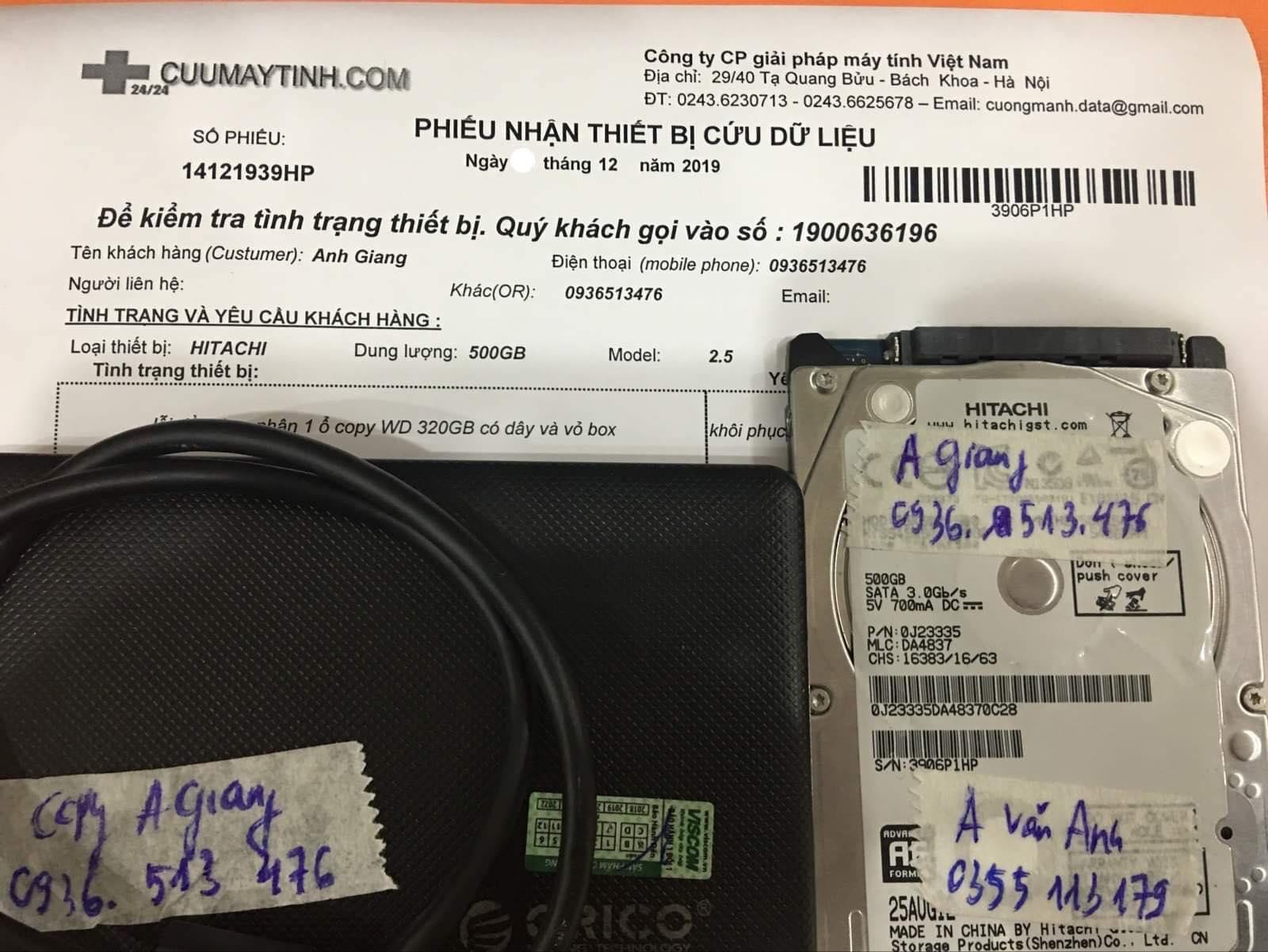 Phục hồi dữ liệu ổ cứng Hitachi 500GB lỗi đầu đọc 23/12/2019 - cuumaytinh