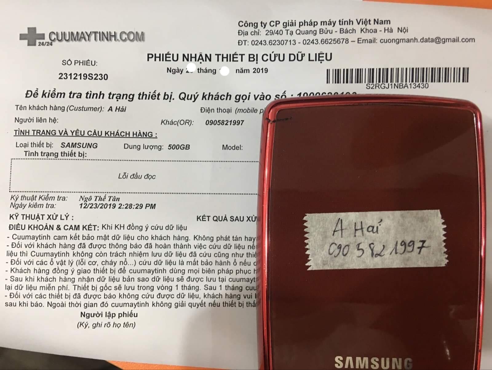 Cứu dữ liệu ổ cứng Samsung 500GB lỗi đầu đọc 02/01/2020 - cuumaytinh