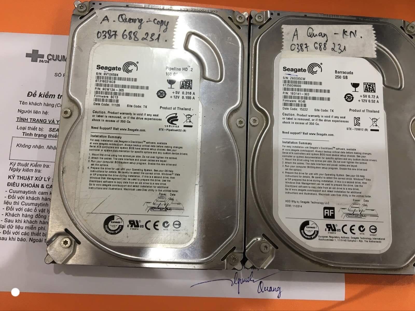 Cứu dữ liệu ổ cứng Seagate 250GB không nhận 04/01/2020 - cuumaytinh