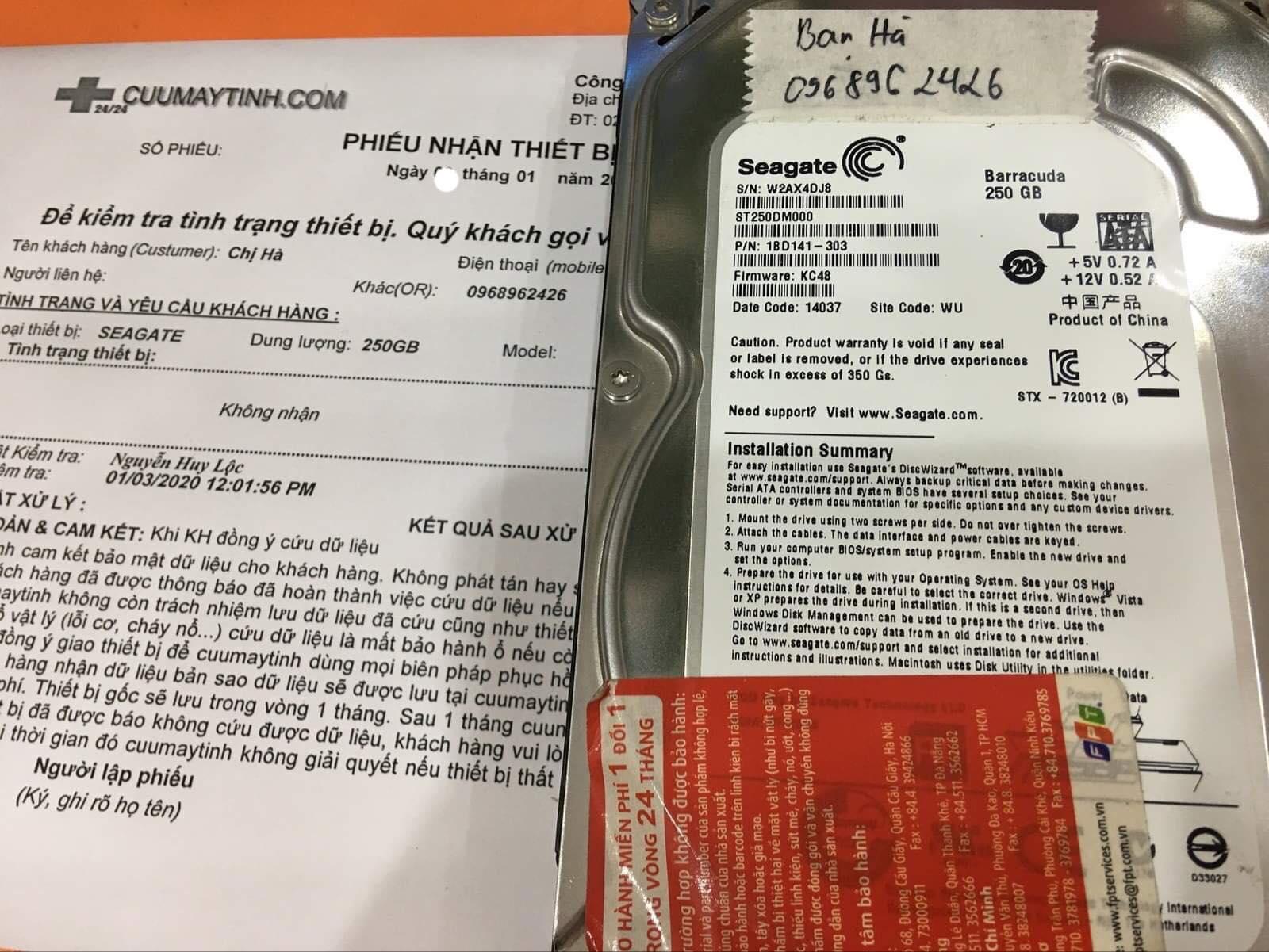 Cứu dữ liệu ổ cứng Seagate 250GB không nhận 07/01/2020 - cuumaytinh