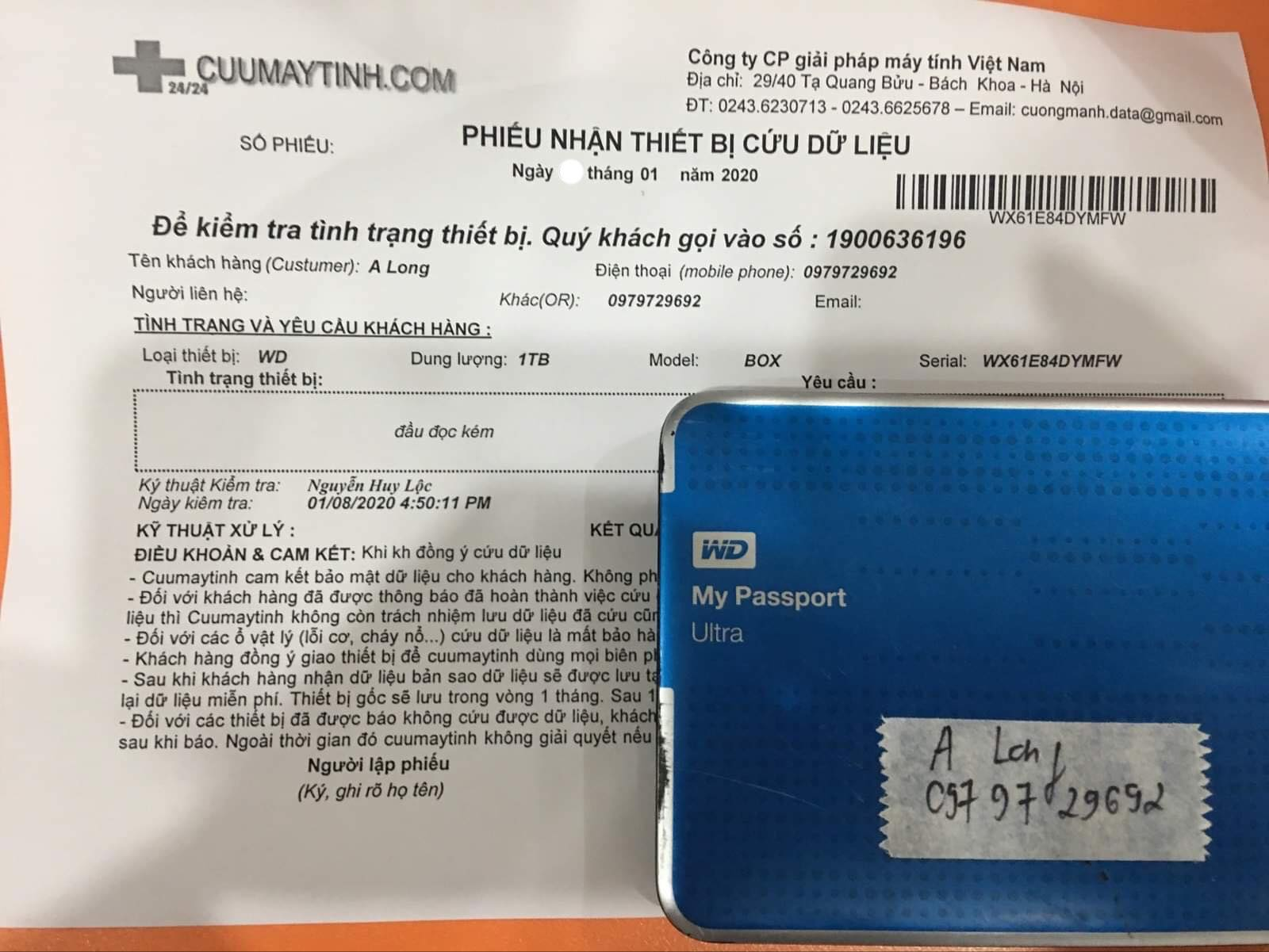 Cứu dữ liệu ổ cứng Western 1TB đầu đọc kém 15/01/2020 - cuumaytinh