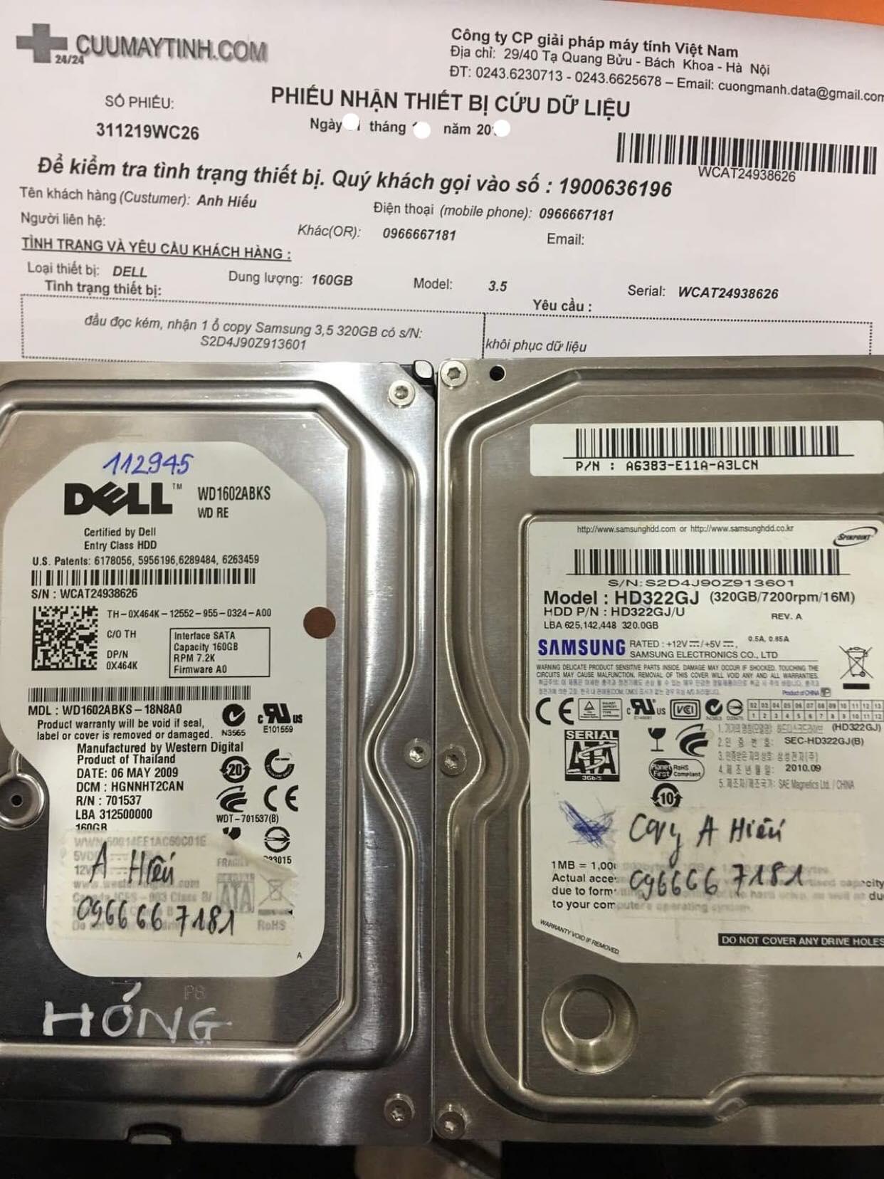 Cứu dữ liệu ổ cứng Western 160GB đầu đọc kém  11/01/2020 - cuumaytinh