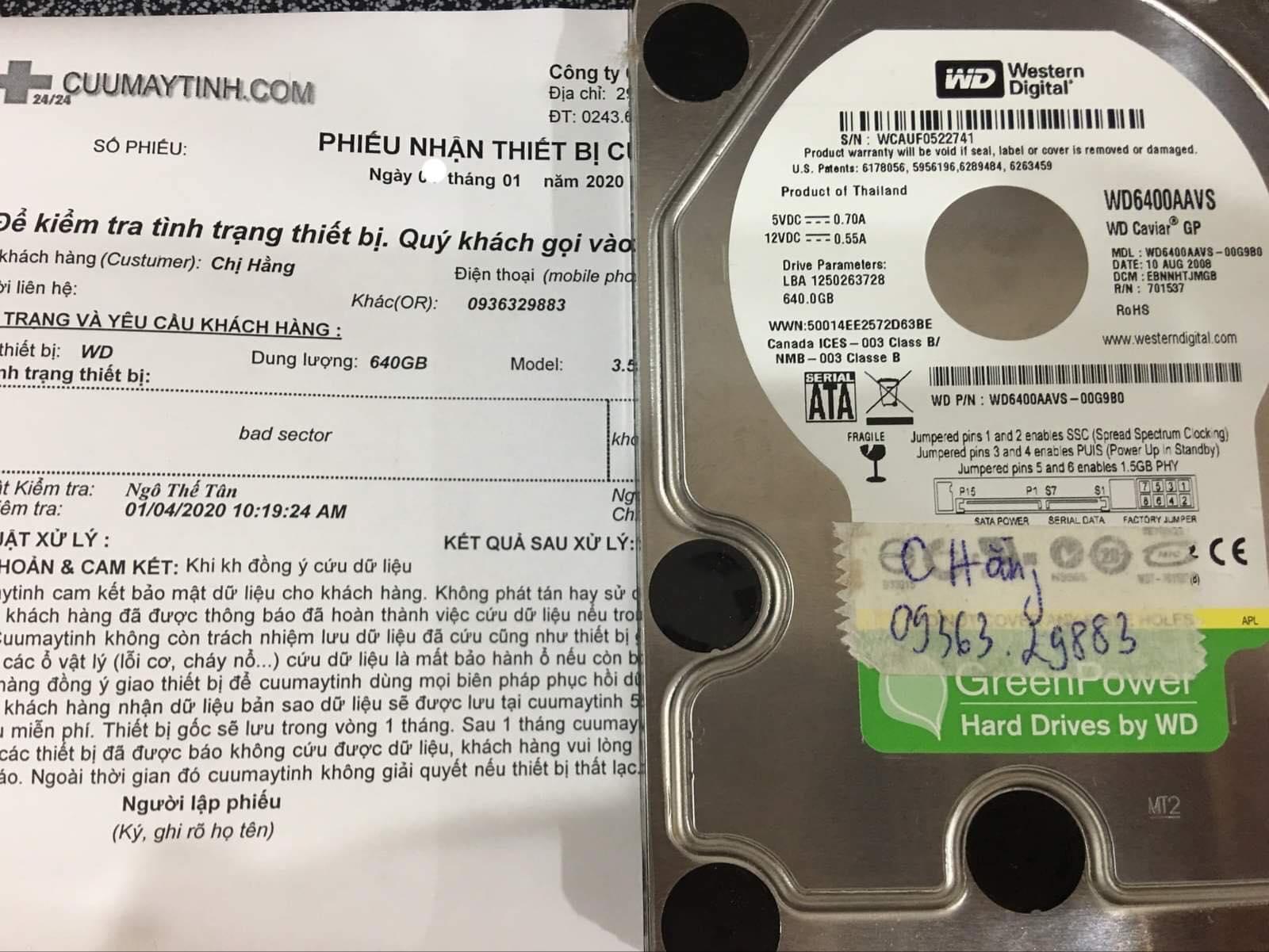 Cứu dữ liệu ổ cứng Western 640GB bad sector 06/01/2020 - cuumaytinh