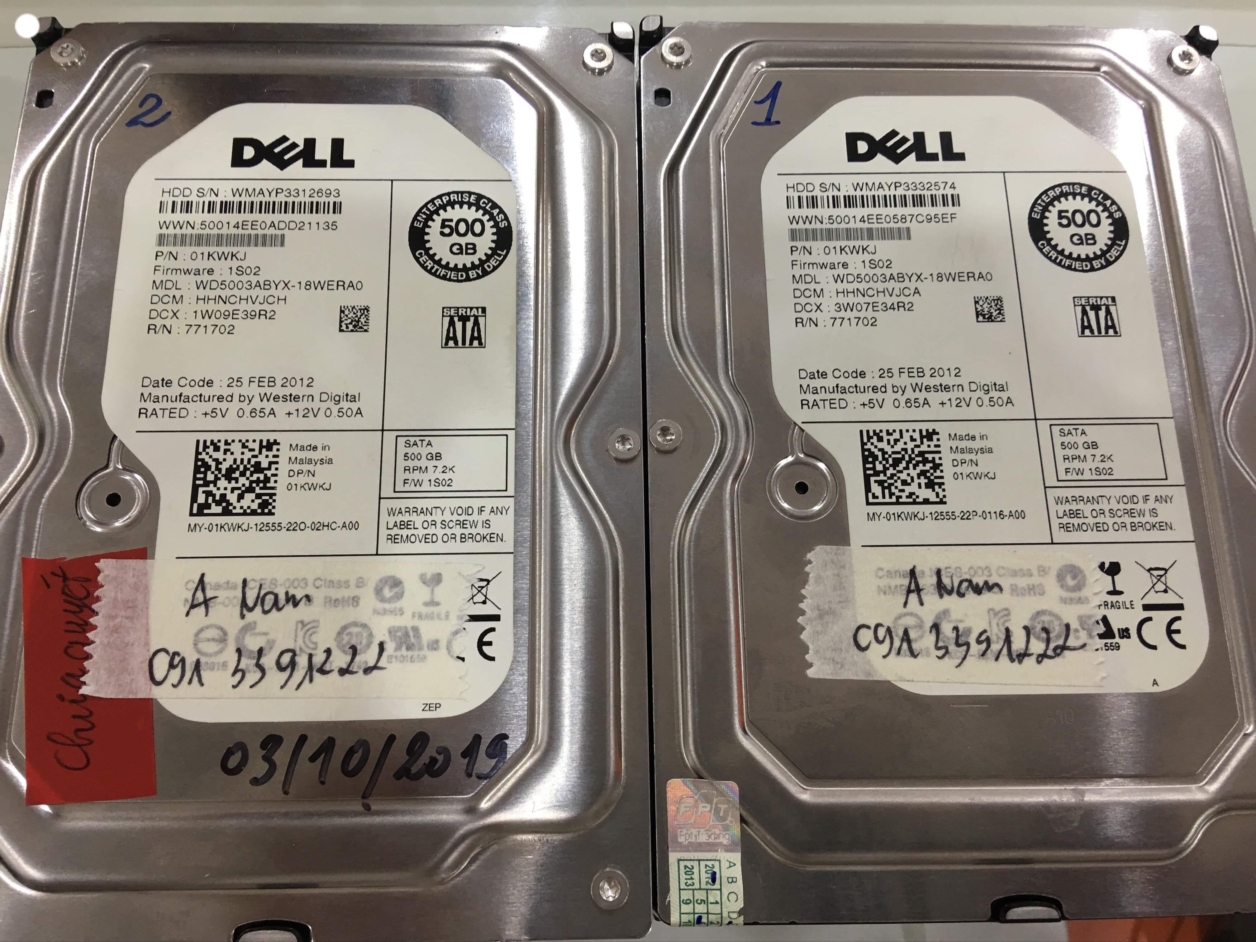 Khôi phục dữ liệu máy chủ Dell với 2HDDx500GB mất cấu hình Raid 24/09/2019 - cuumaytinh