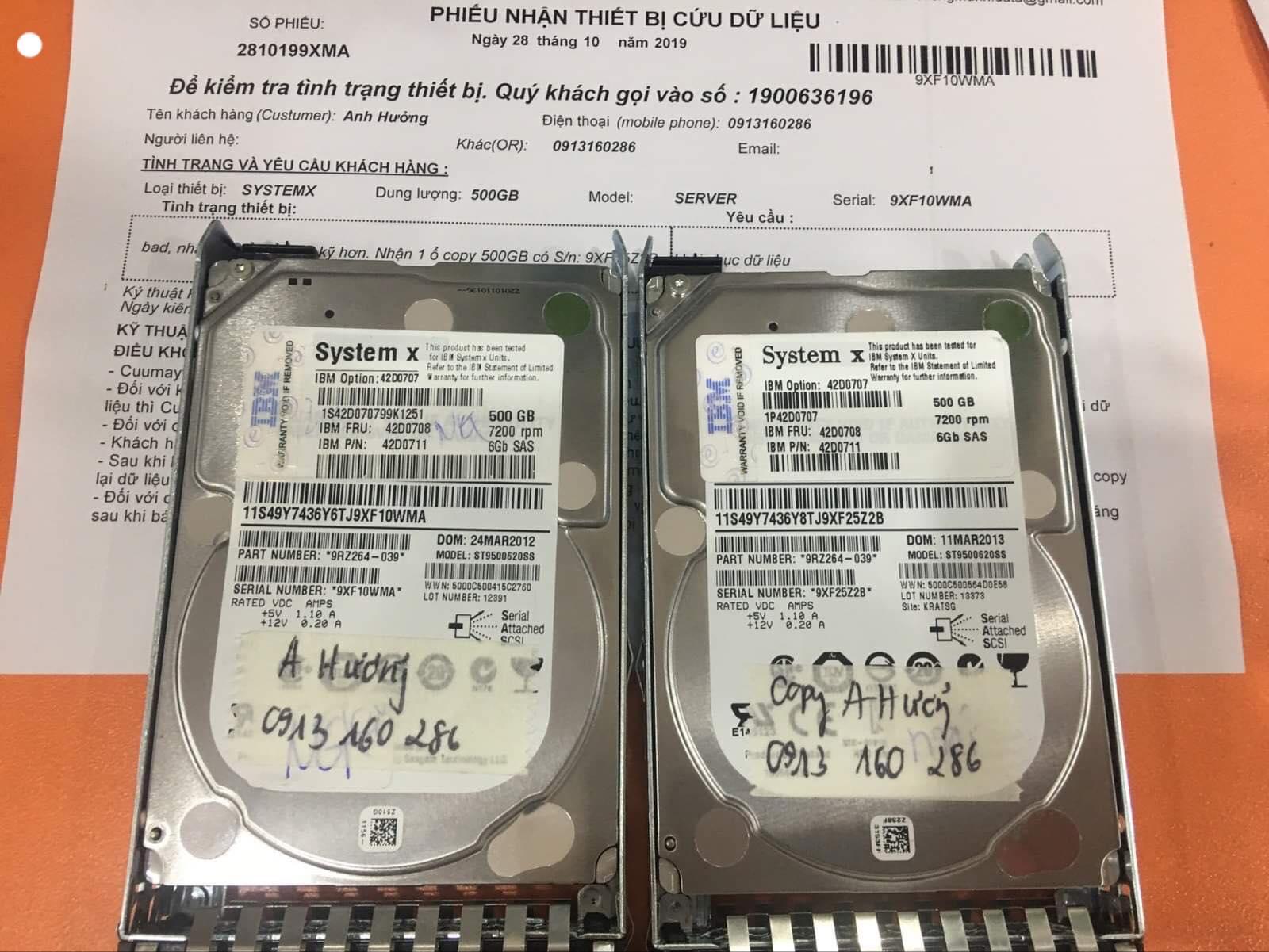 Khôi phục dữ liệu máy chủ SystemX với 1HDDx500GB bị bad 28/10/2019 - cuumaytinh