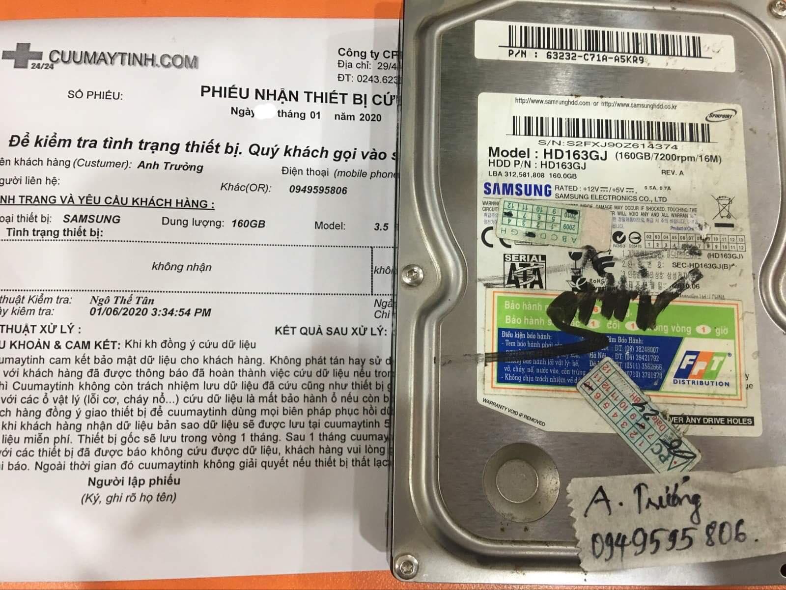 Khôi phục dữ liệu ổ cứng Samsung 160GB không nhận 07/01/2020 - cuumaytinh