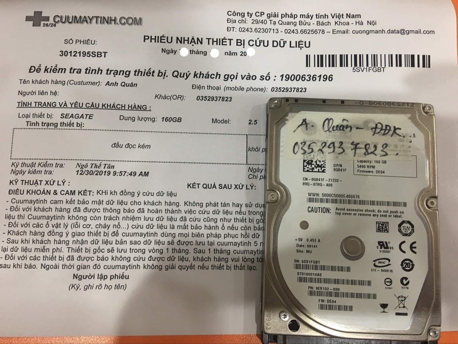 Khôi phục dữ liệu ổ cứng Seagate 160GB đầu đọc kém 13/01/2020 - cuumaytinh