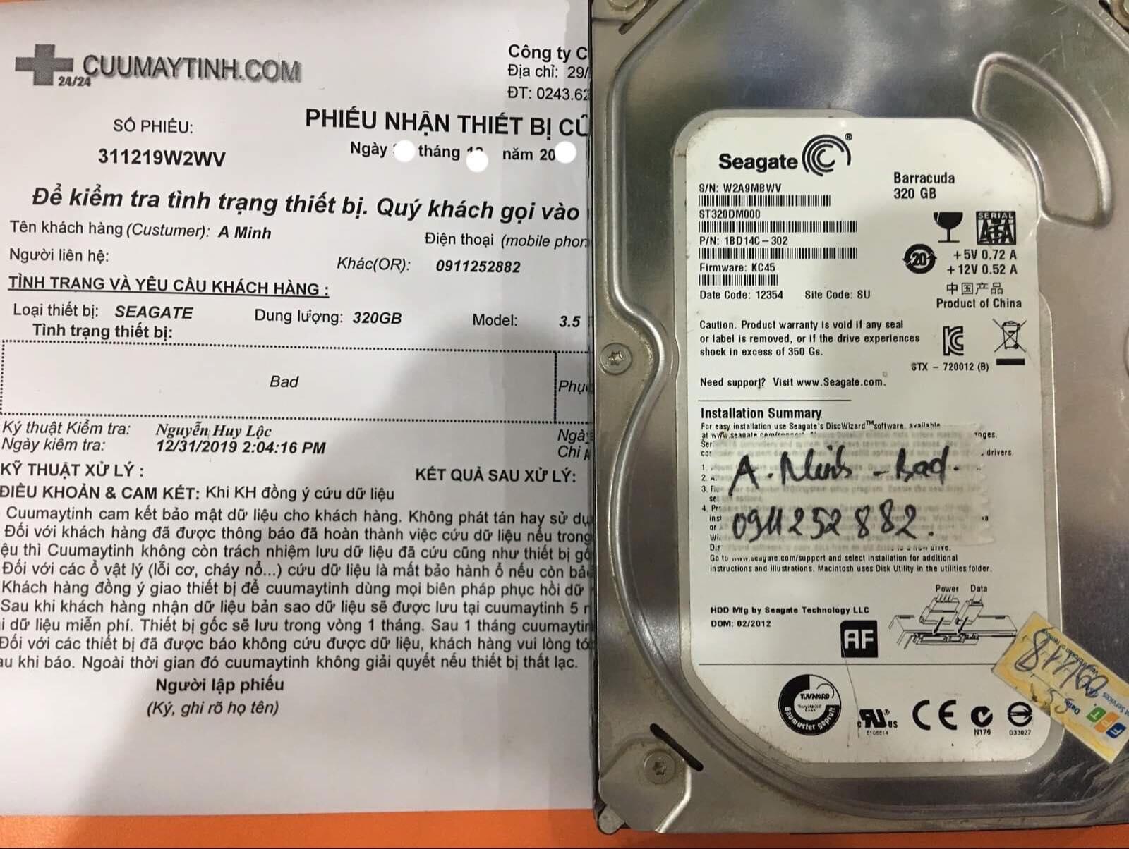 Khôi phục dữ liệu ổ cứng Seagate 320GB bad 10/01/2020 - cuumaytinh