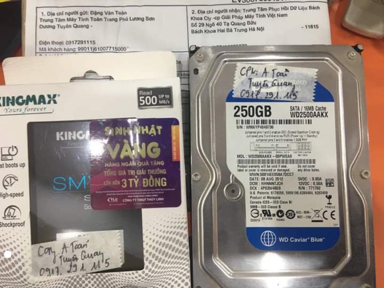 Khôi phục dữ liệu ổ cứng Western 250GB đầu đọc kém tại Tuyên Quang 11/01/2020 - cuumaytinh